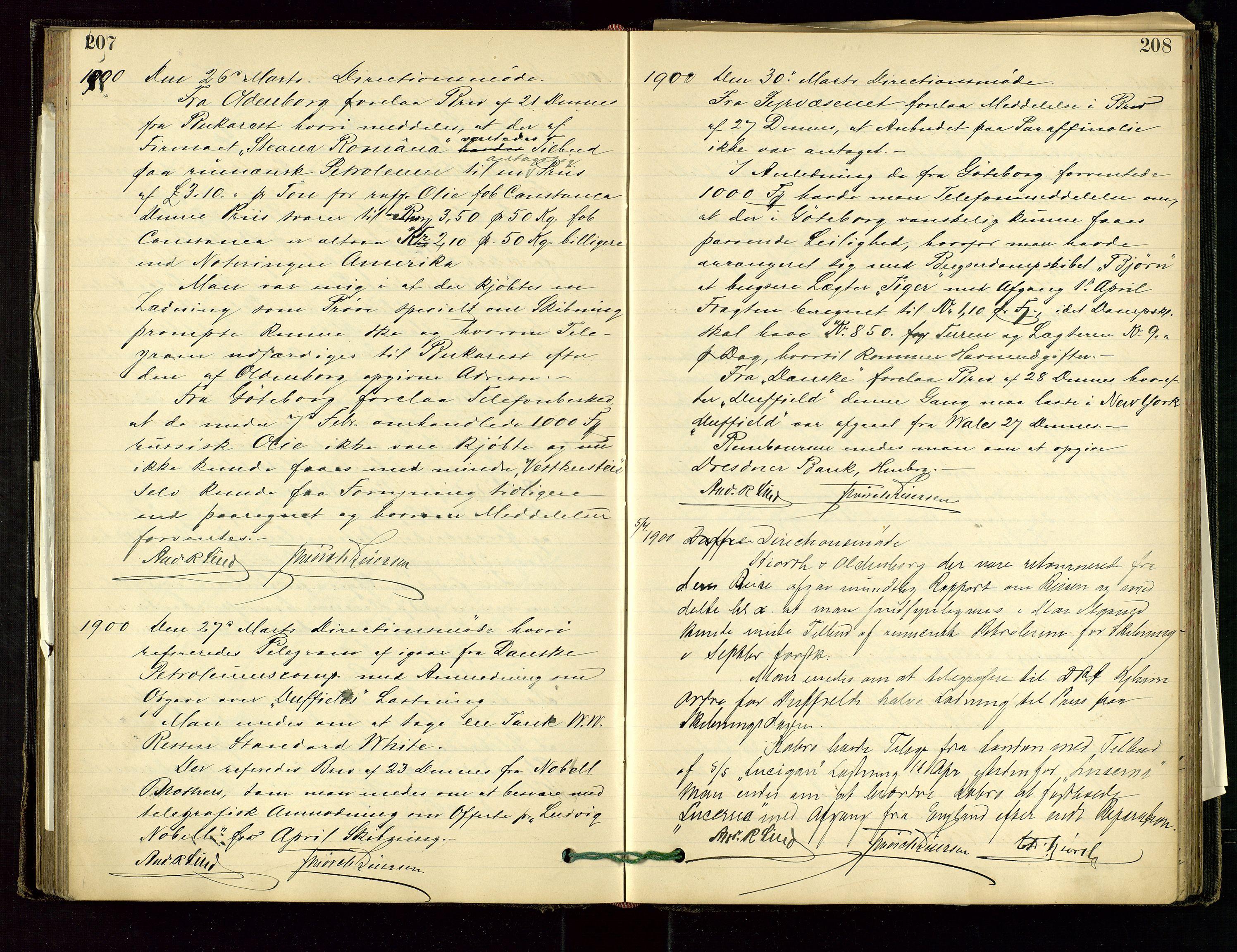 SAST, PA 1534 - Østlandske Petroleumscompagni A/S, A/Aa/L0001: Generalforsamlinger og direksjonsprotokoller., 1892-1905, s. 207-208
