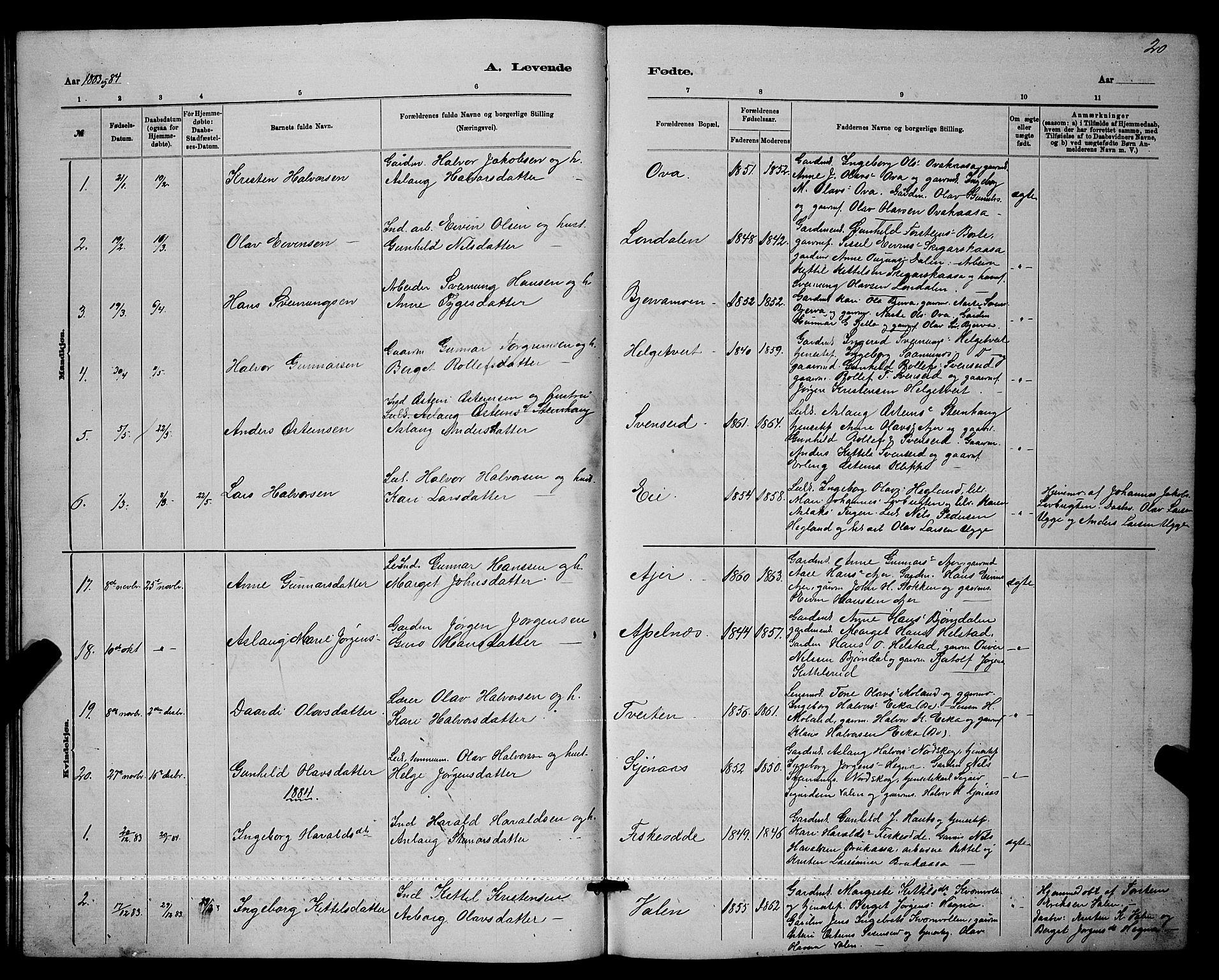 SAKO, Lunde kirkebøker, G/Ga/L0001b: Klokkerbok nr. I 1, 1879-1887, s. 20
