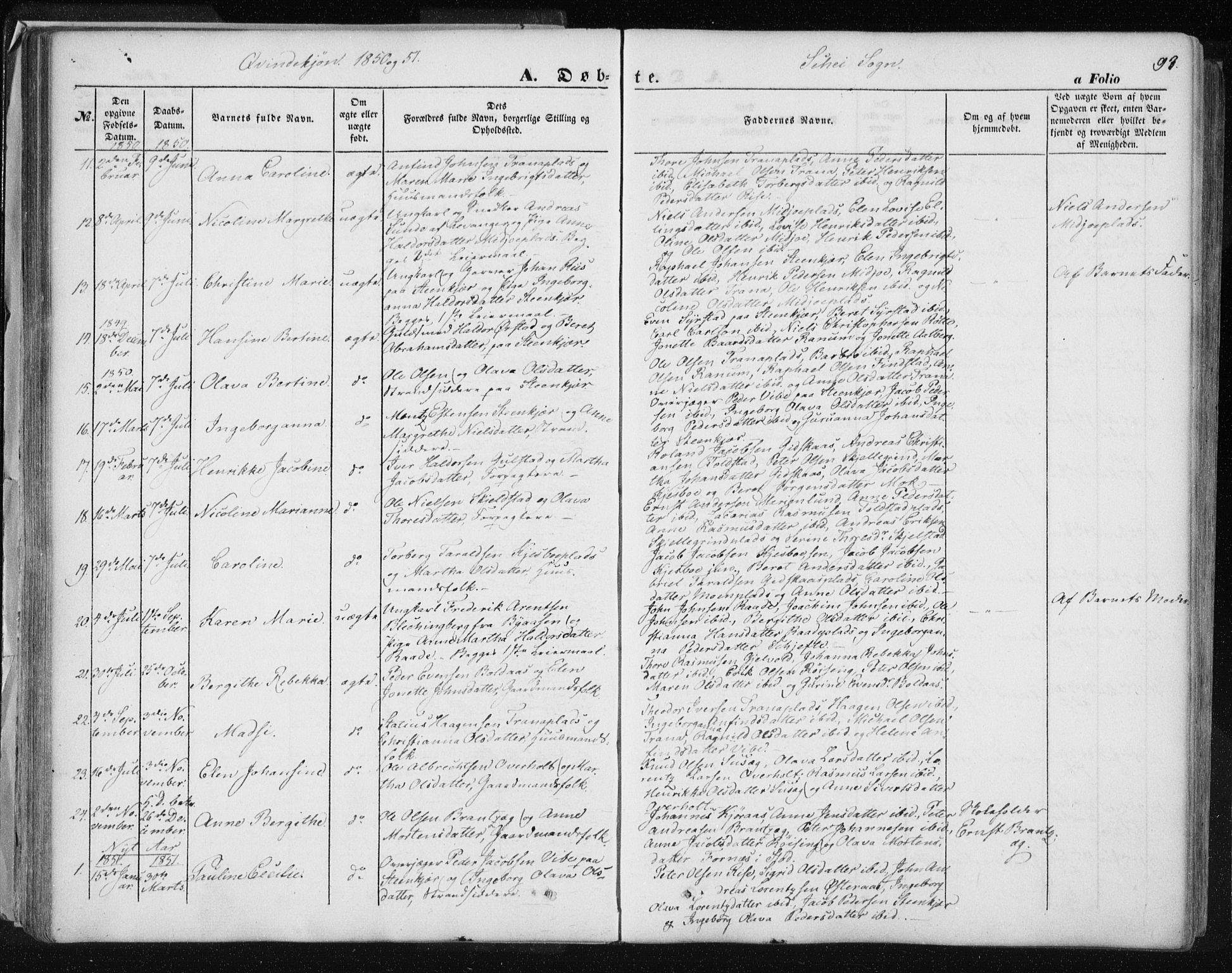 SAT, Ministerialprotokoller, klokkerbøker og fødselsregistre - Nord-Trøndelag, 735/L0342: Ministerialbok nr. 735A07 /2, 1849-1862, s. 93