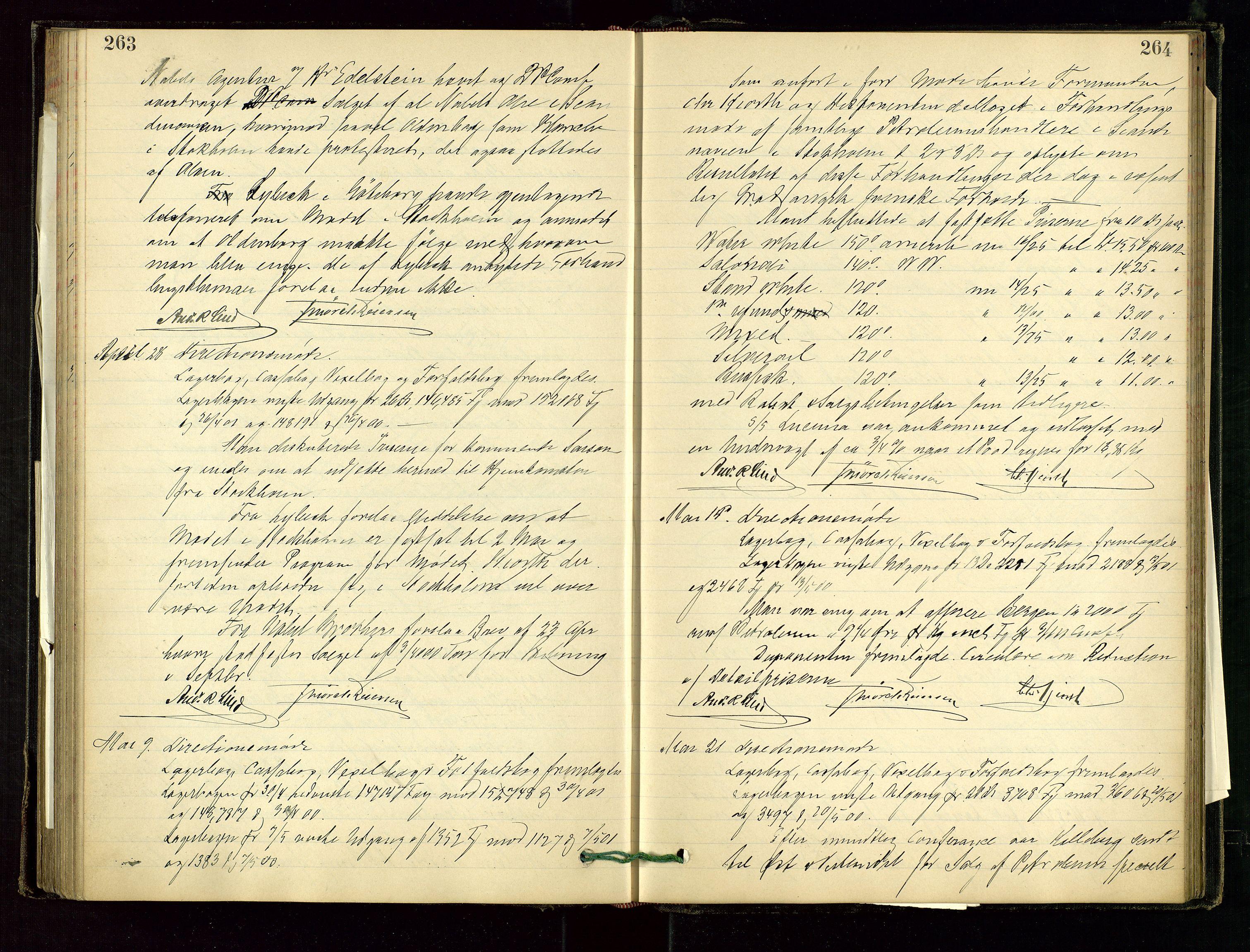 SAST, PA 1534 - Østlandske Petroleumscompagni A/S, A/Aa/L0001: Generalforsamlinger og direksjonsprotokoller., 1892-1905, s. 263-264