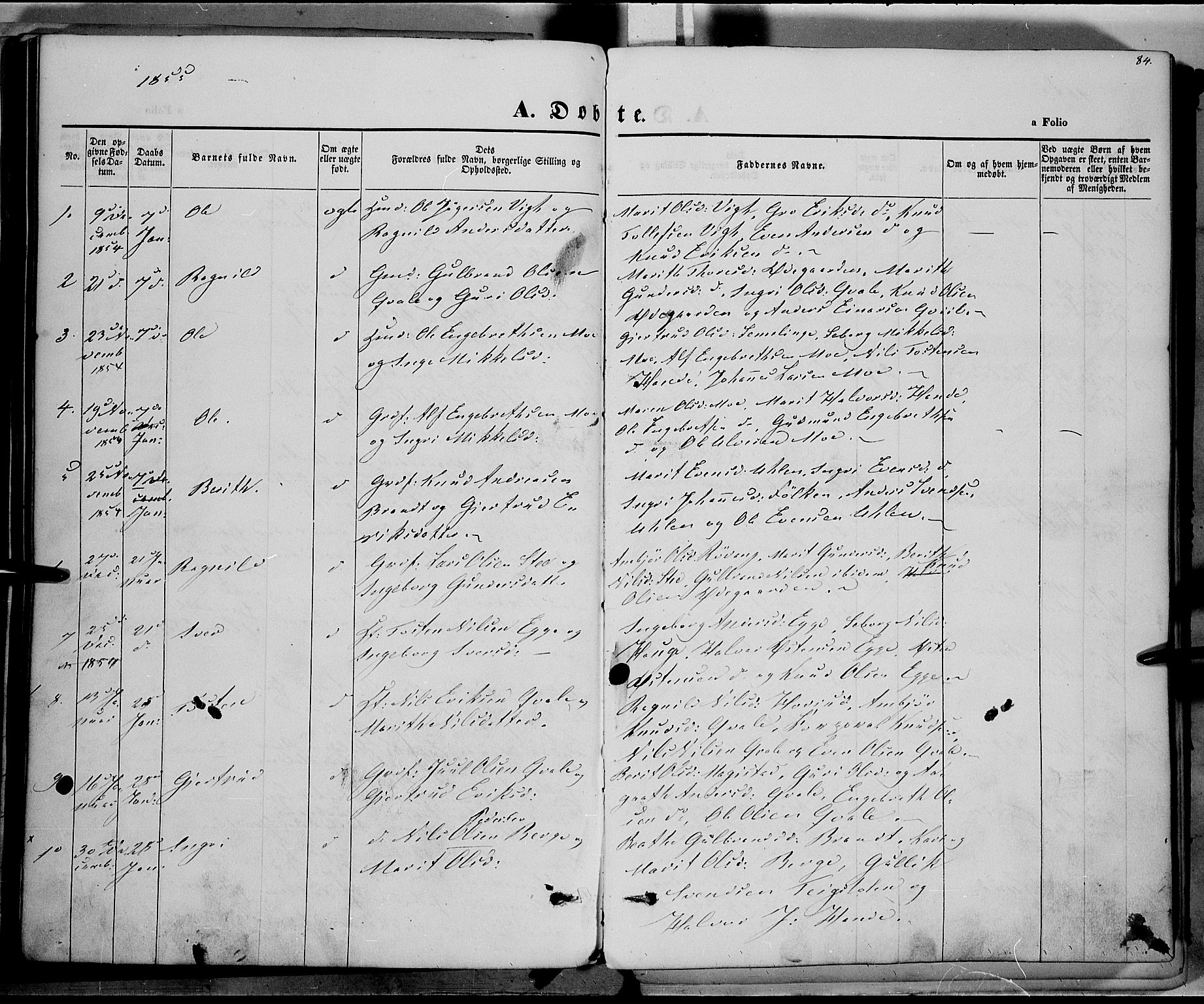 SAH, Vestre Slidre prestekontor, Ministerialbok nr. 1, 1844-1855, s. 84