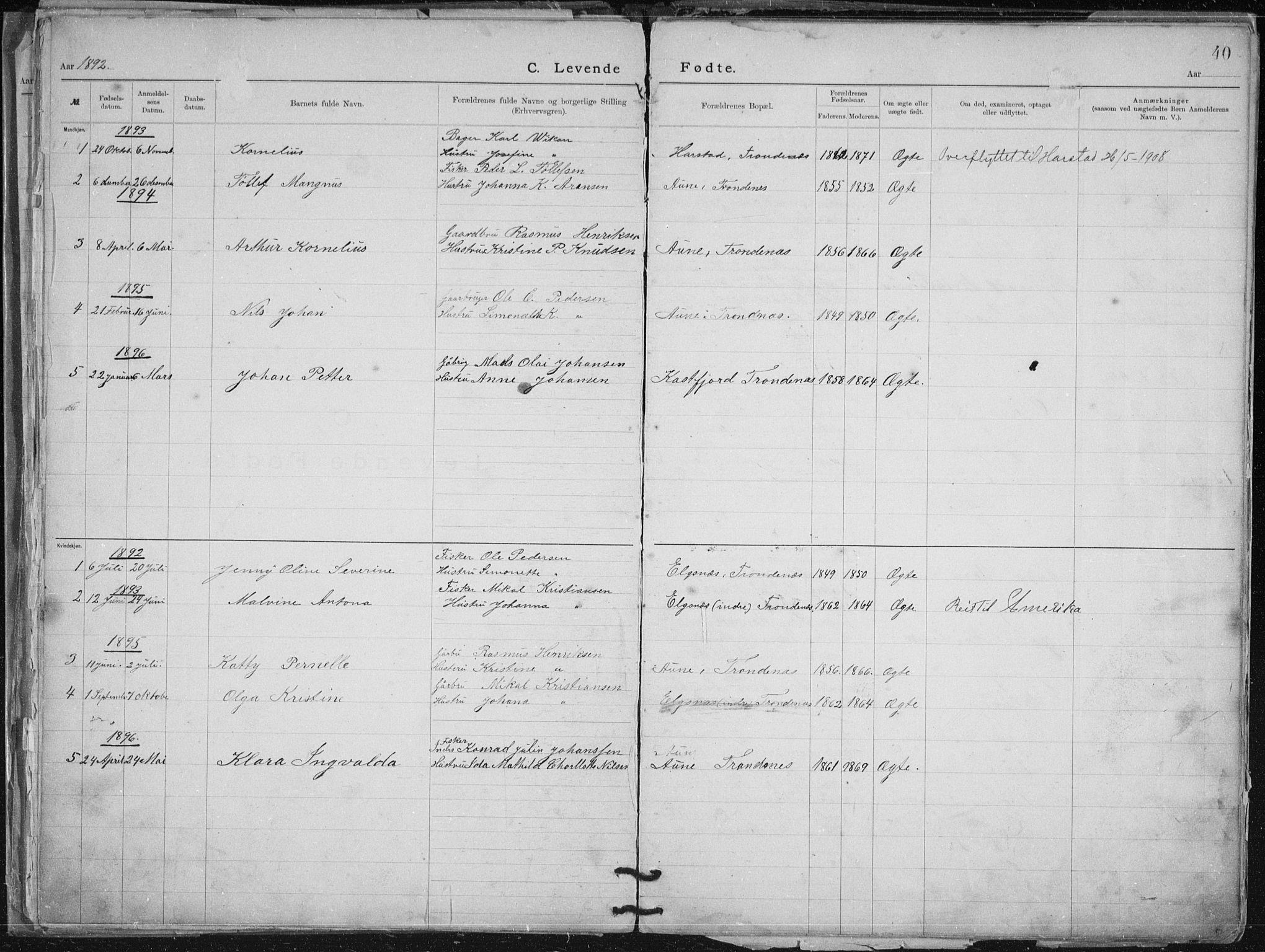 SATØ, Aune baptistmenighet, F/L0006DP: Dissenterprotokoll nr. 6, 1887-1939, s. 40