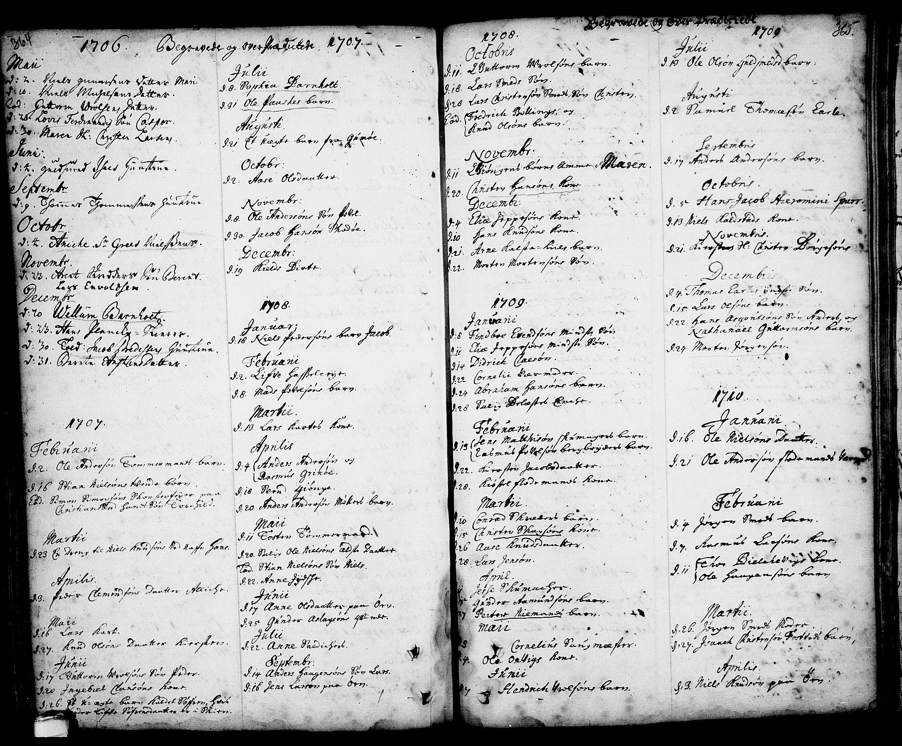 SAKO, Kragerø kirkebøker, F/Fa/L0001: Ministerialbok nr. 1, 1702-1766, s. 364-365