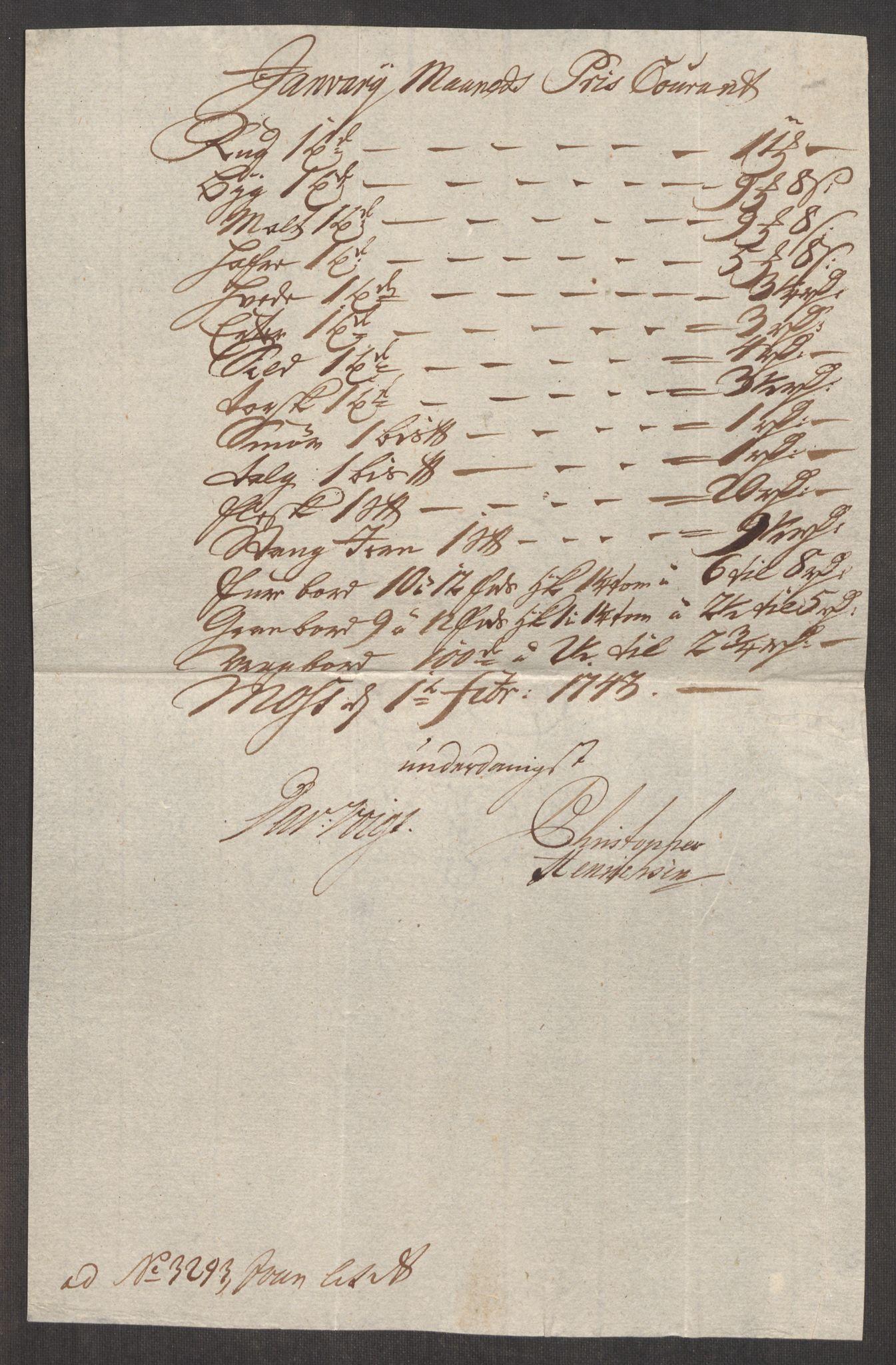 RA, Rentekammeret inntil 1814, Realistisk ordnet avdeling, Oe/L0002: [Ø1]: Priskuranter, 1740-1744, s. 629