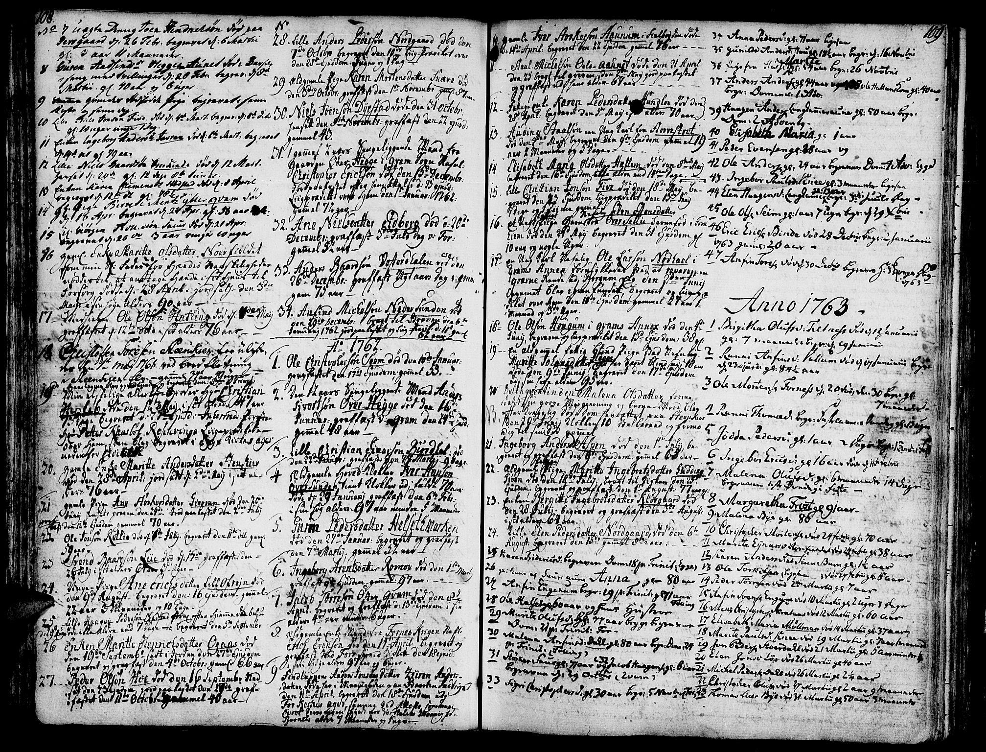 SAT, Ministerialprotokoller, klokkerbøker og fødselsregistre - Nord-Trøndelag, 746/L0440: Ministerialbok nr. 746A02, 1760-1815, s. 108-109