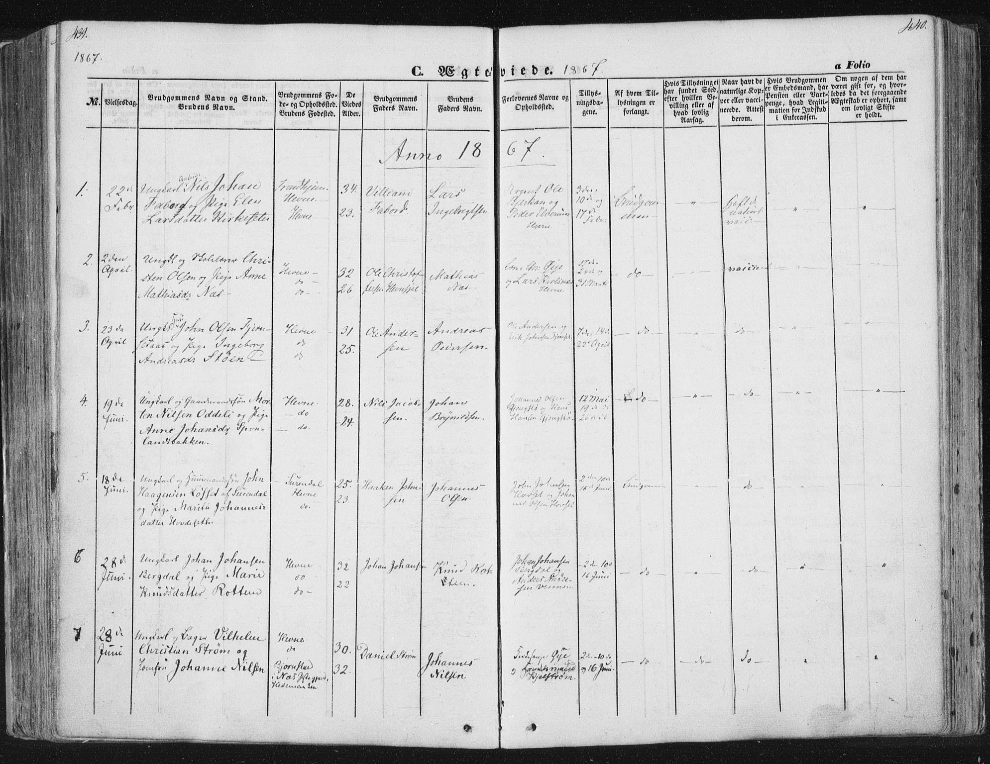 SAT, Ministerialprotokoller, klokkerbøker og fødselsregistre - Sør-Trøndelag, 630/L0494: Ministerialbok nr. 630A07, 1852-1868, s. 439-440