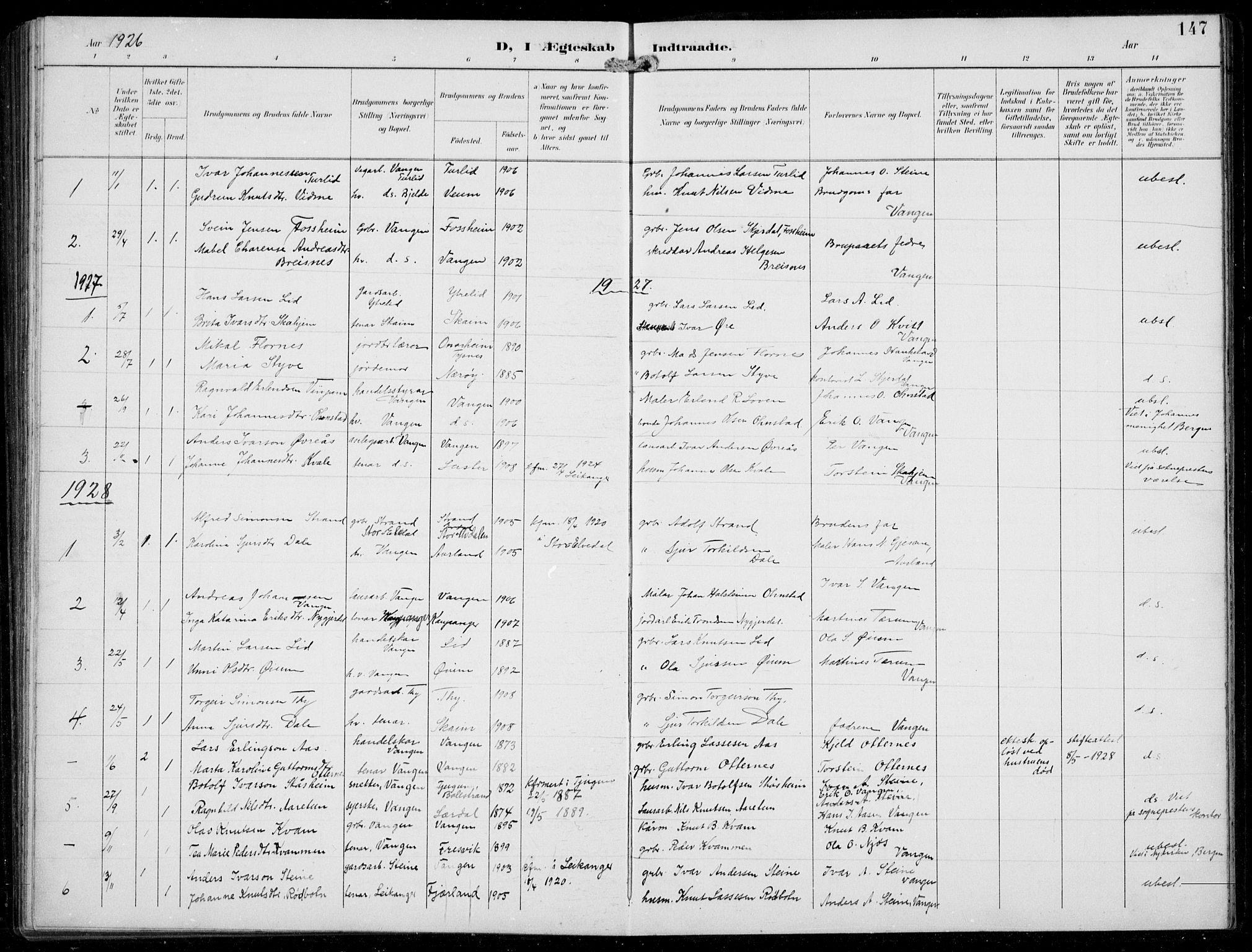SAB, Aurland sokneprestembete, H/Hb/Hba/L0003: Klokkerbok nr. A 3, 1896-1939, s. 147