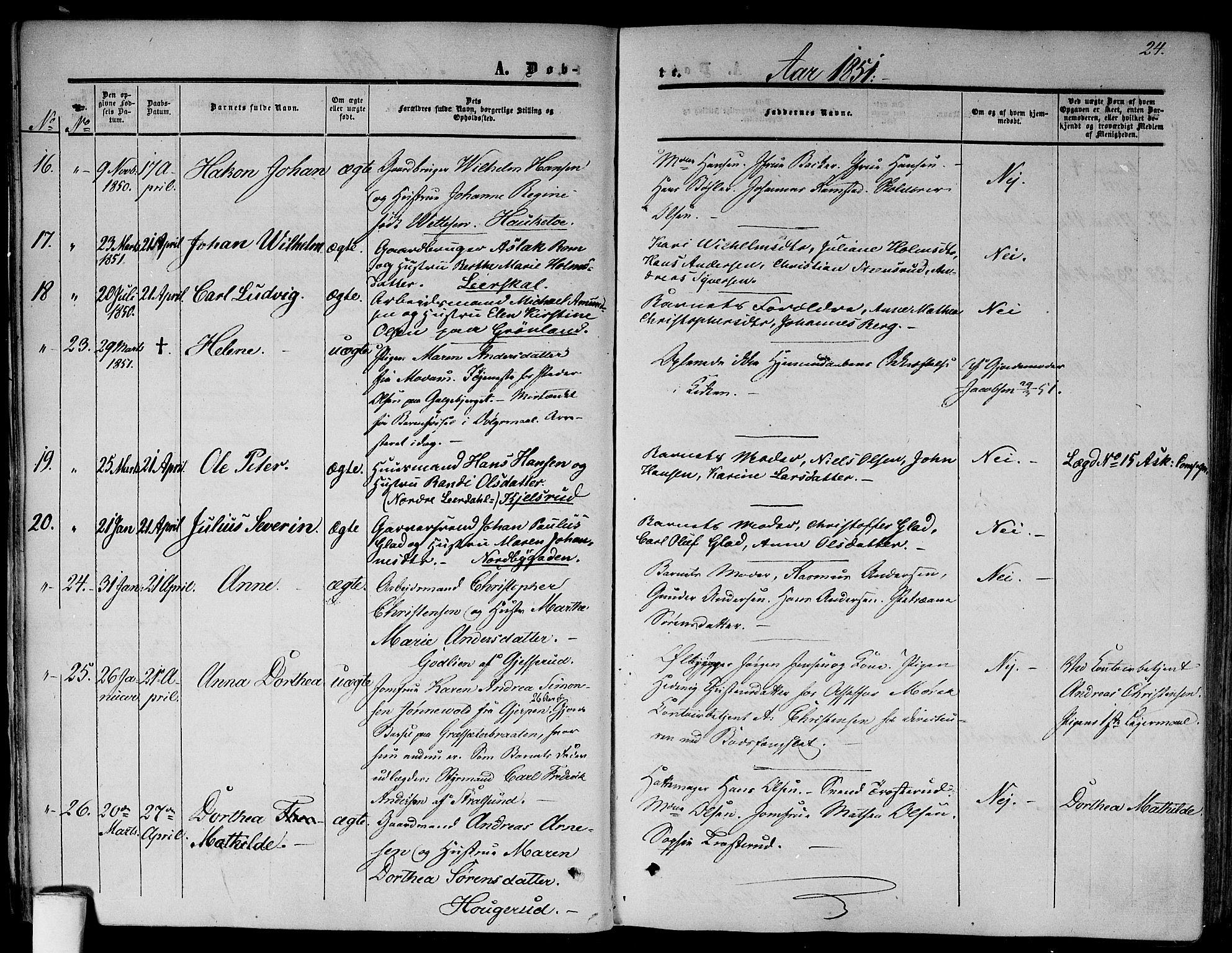 SAO, Gamlebyen prestekontor Kirkebøker, F/Fa/L0004: Ministerialbok nr. 4, 1850-1857, s. 24