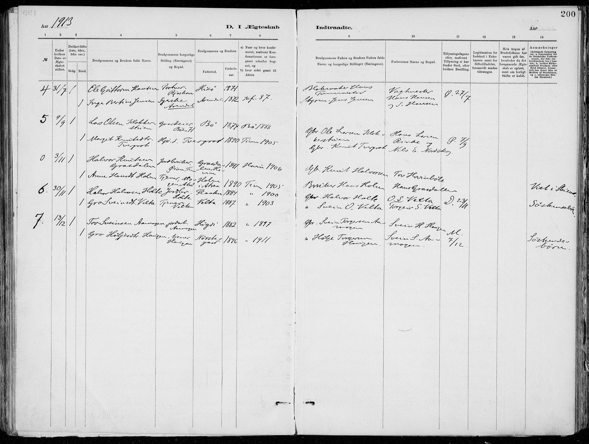 SAKO, Tinn kirkebøker, F/Fa/L0007: Ministerialbok nr. I 7, 1878-1922, s. 200