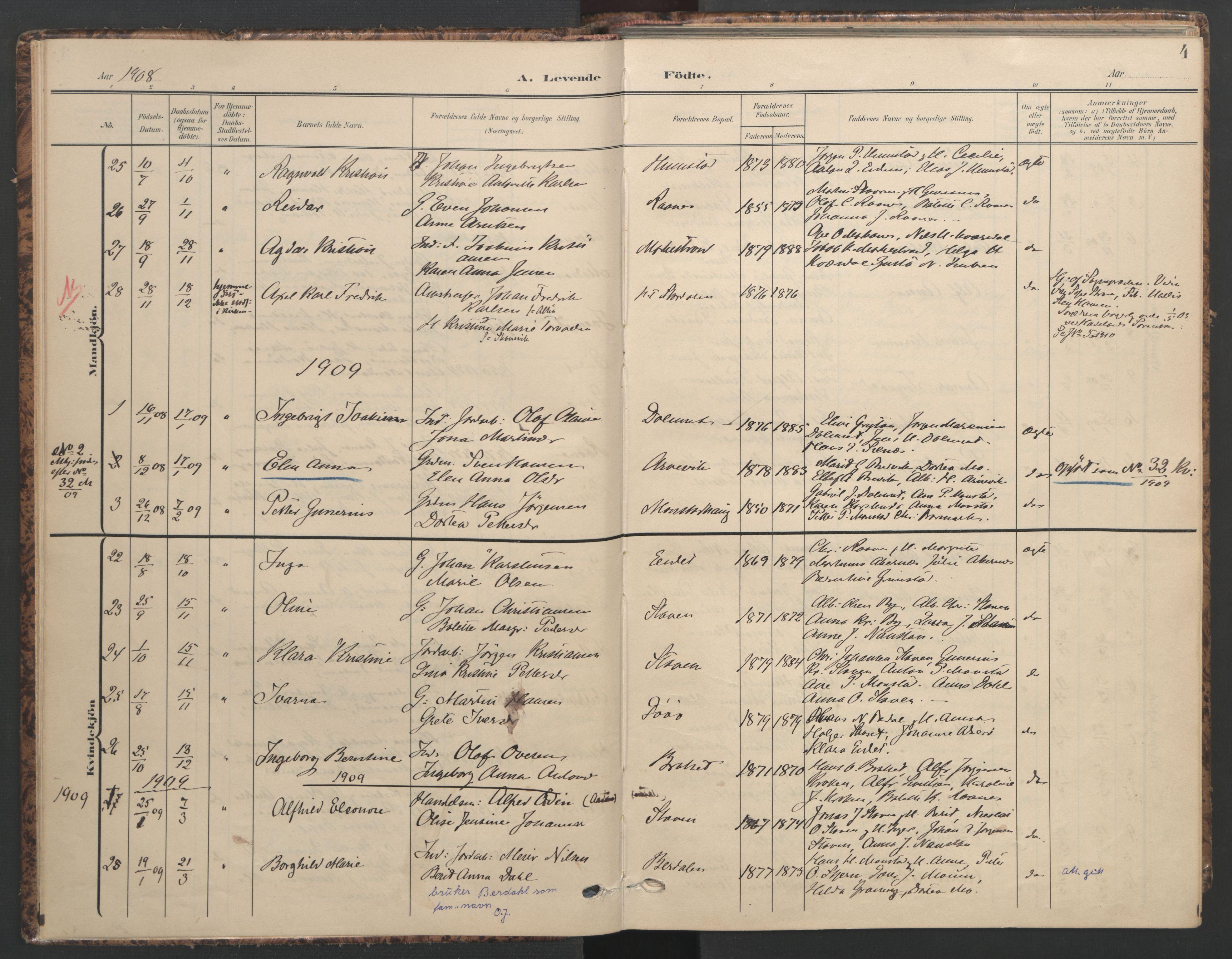 SAT, Ministerialprotokoller, klokkerbøker og fødselsregistre - Sør-Trøndelag, 655/L0682: Ministerialbok nr. 655A11, 1908-1922, s. 4