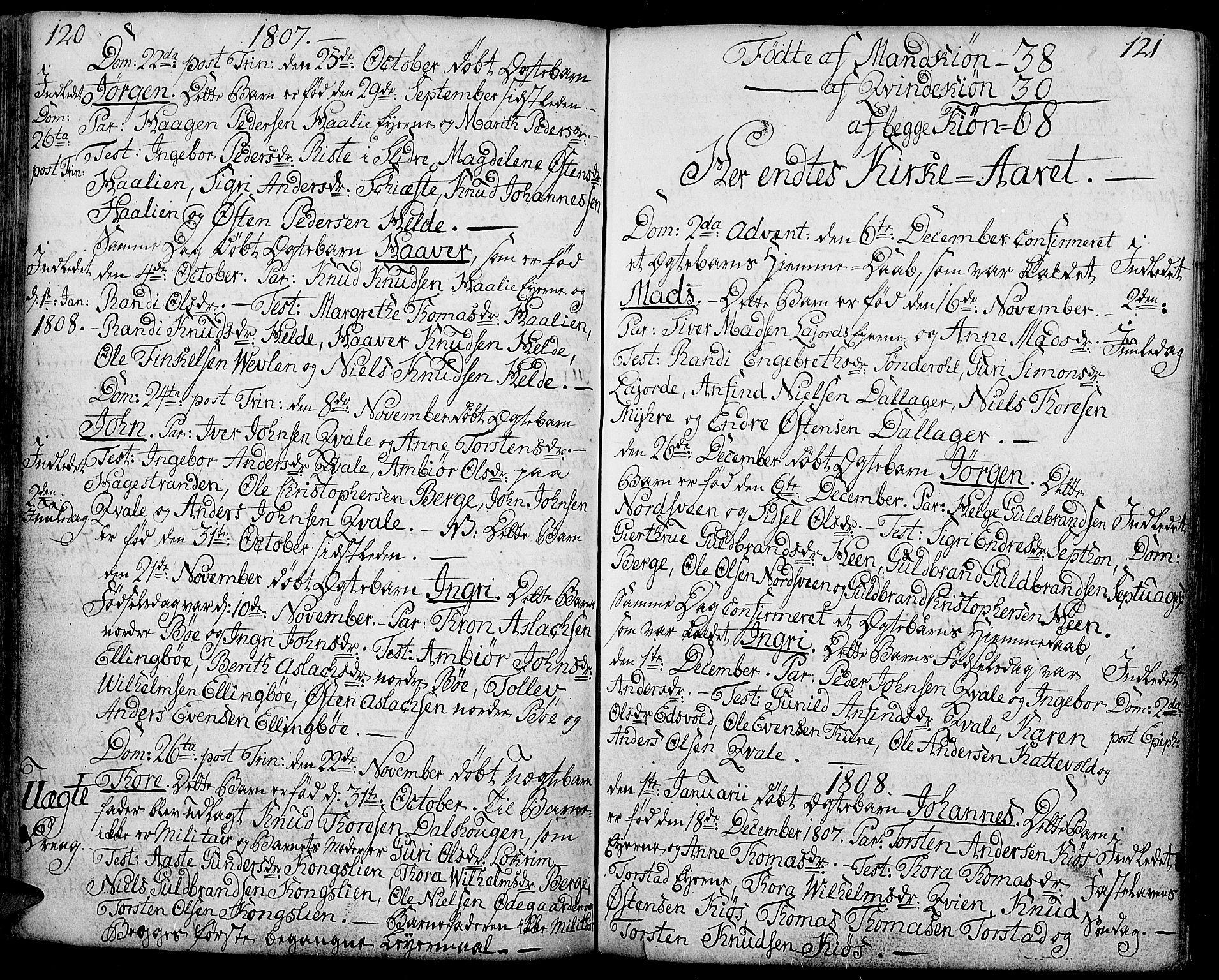 SAH, Vang prestekontor, Valdres, Ministerialbok nr. 2, 1796-1808, s. 120-121