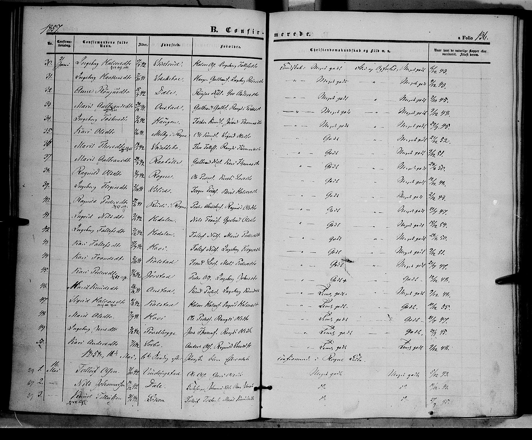 SAH, Øystre Slidre prestekontor, Ministerialbok nr. 1, 1849-1874, s. 136