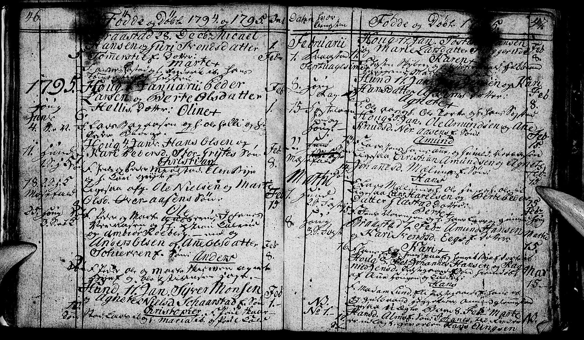 SAH, Vardal prestekontor, H/Ha/Hab/L0002: Klokkerbok nr. 2, 1790-1803, s. 46-47