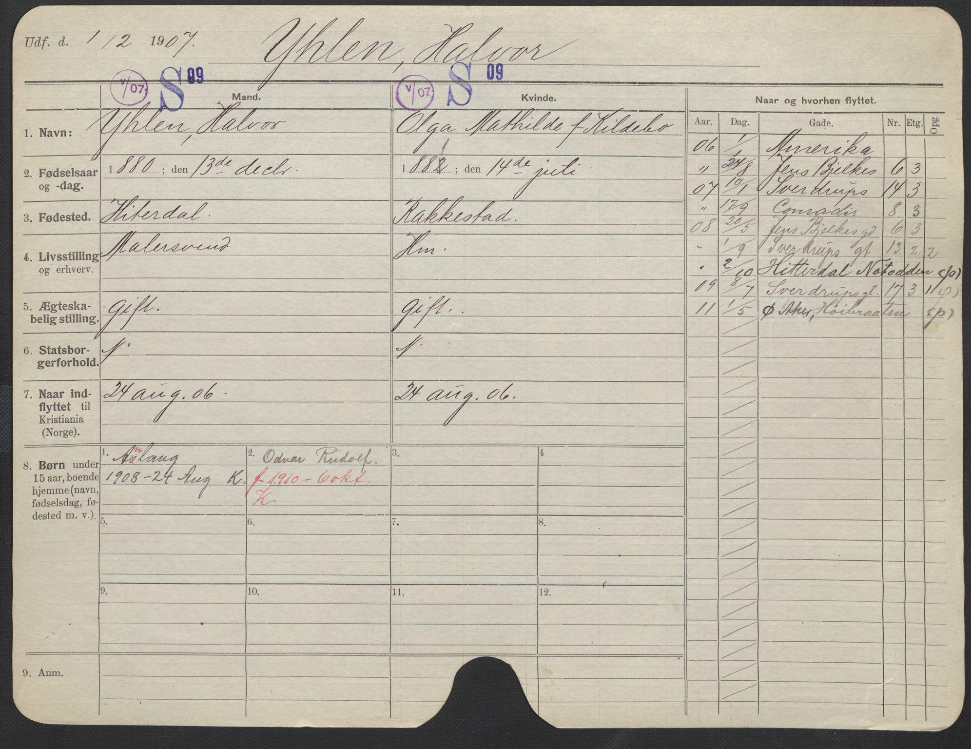 SAO, Oslo folkeregister, Registerkort, F/Fa/Fac/L0011: Menn, 1906-1914, s. 976a