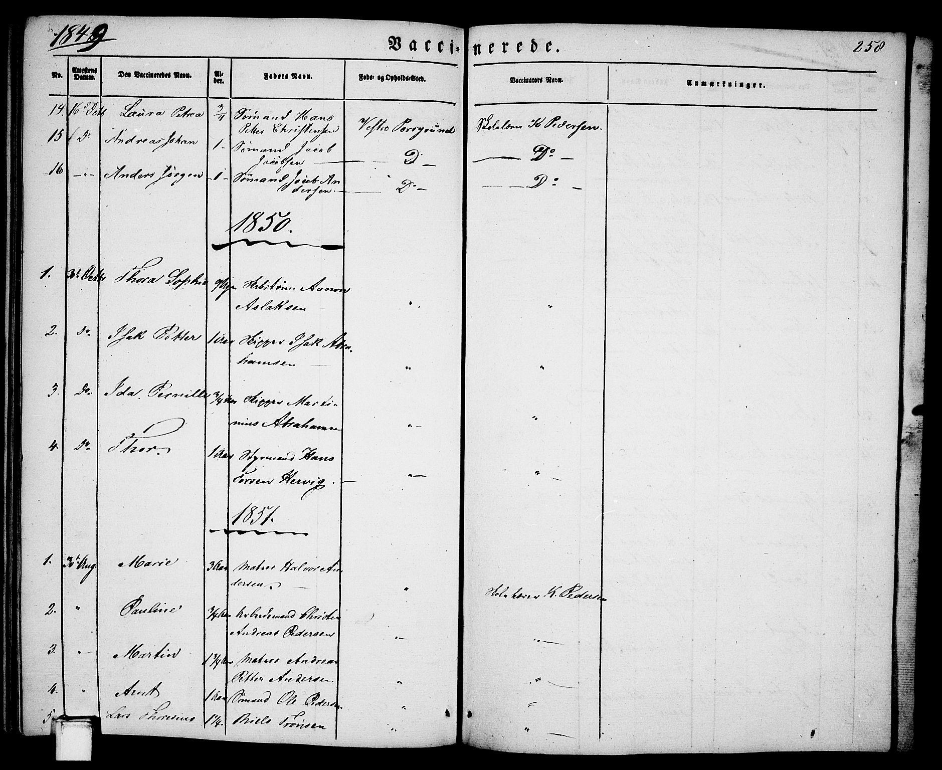 SAKO, Porsgrunn kirkebøker , G/Ga/L0002: Klokkerbok nr. I 2, 1847-1877, s. 258