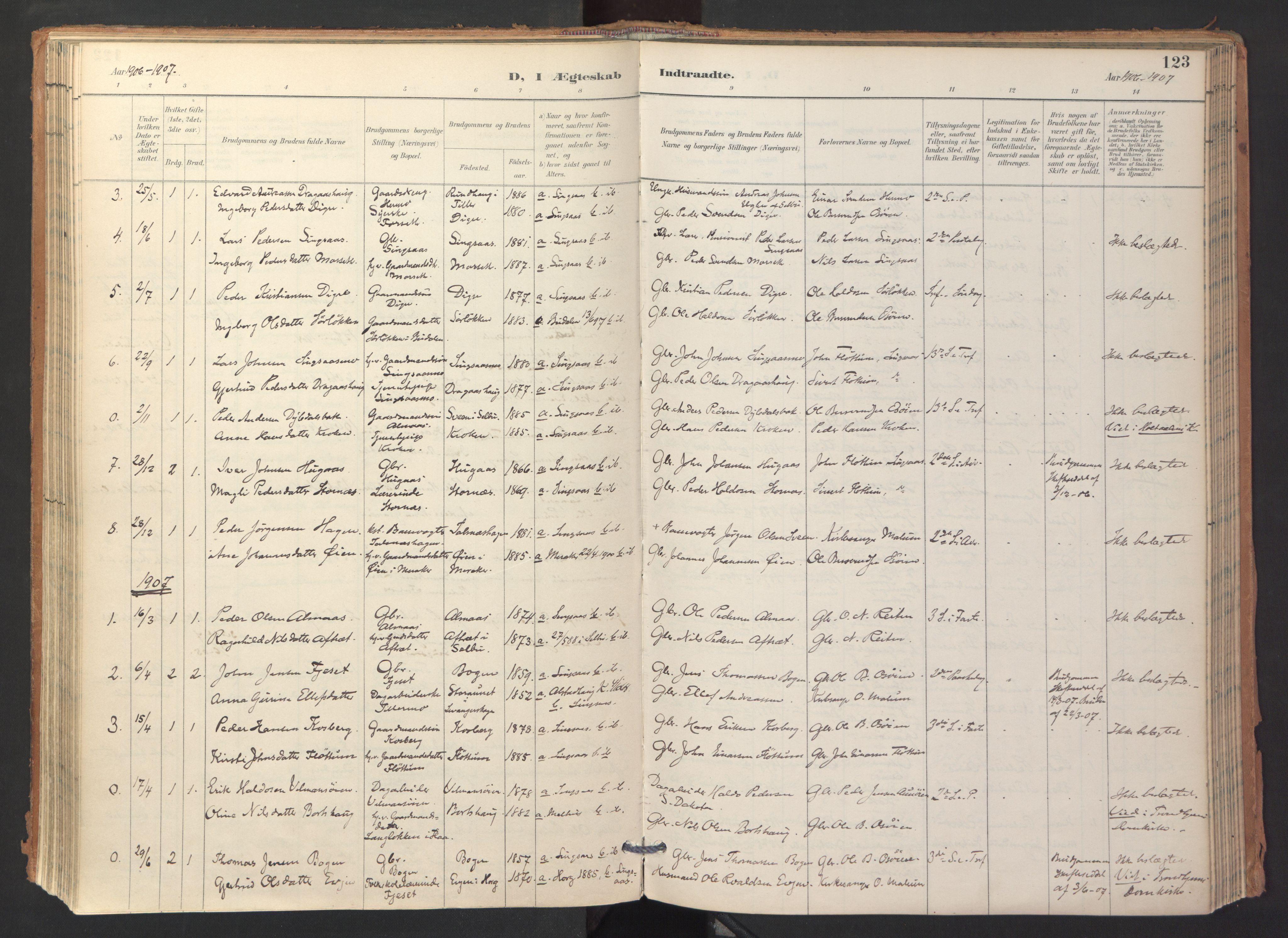 SAT, Ministerialprotokoller, klokkerbøker og fødselsregistre - Sør-Trøndelag, 688/L1025: Ministerialbok nr. 688A02, 1891-1909, s. 123