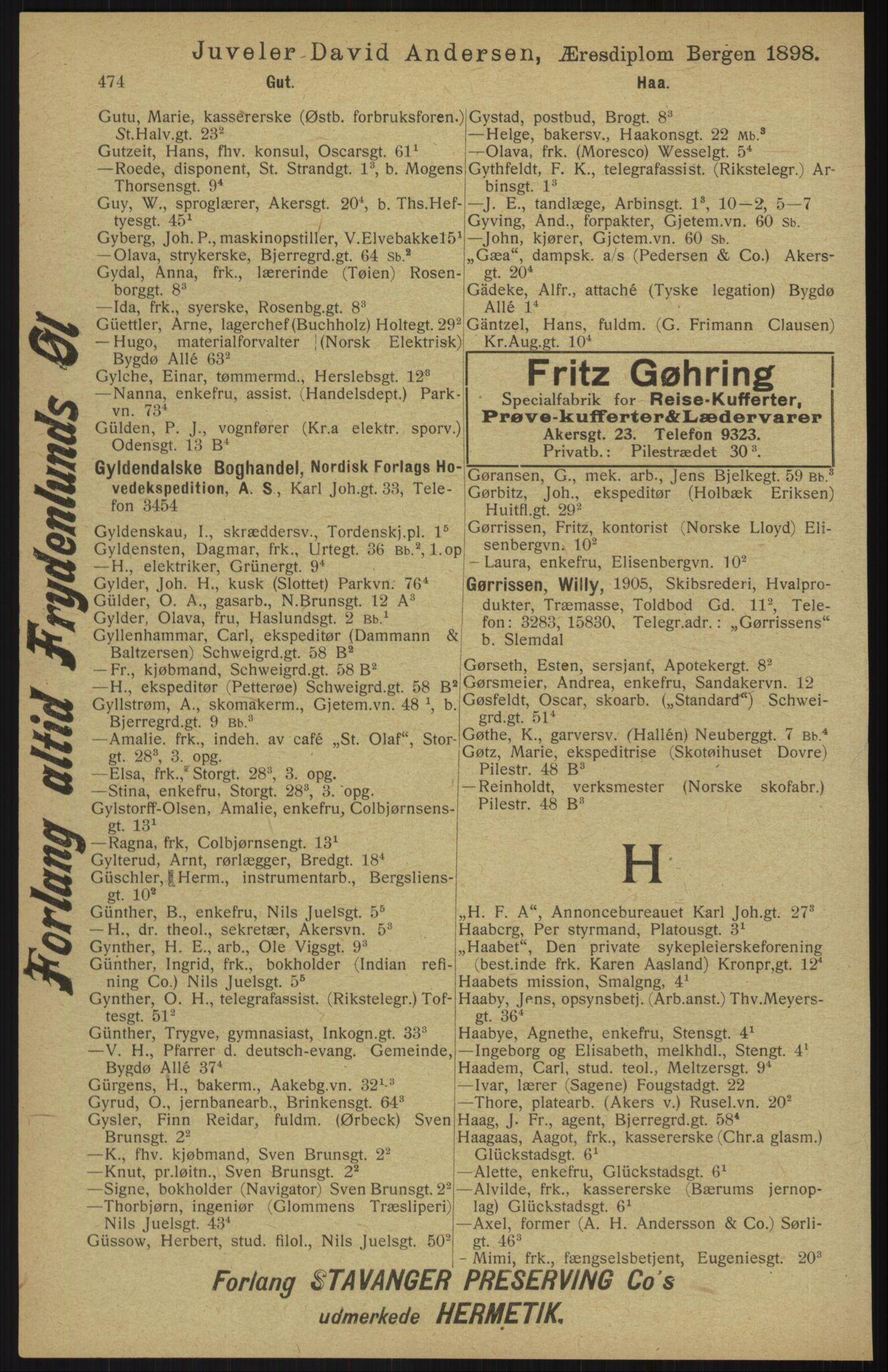 RA, Kristiania adressebok (publikasjon)*, 1913, s. 474