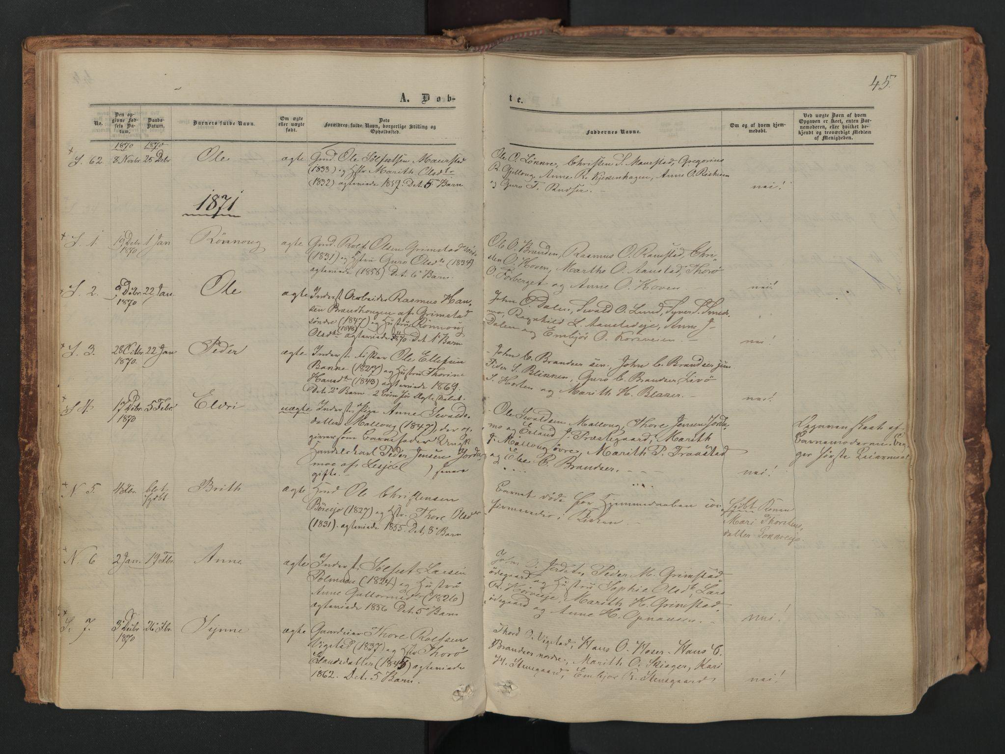 SAH, Skjåk prestekontor, Ministerialbok nr. 1, 1863-1879, s. 45