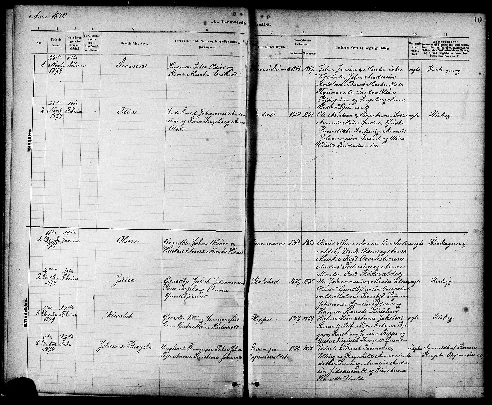 SAT, Ministerialprotokoller, klokkerbøker og fødselsregistre - Nord-Trøndelag, 724/L0267: Klokkerbok nr. 724C03, 1879-1898, s. 10