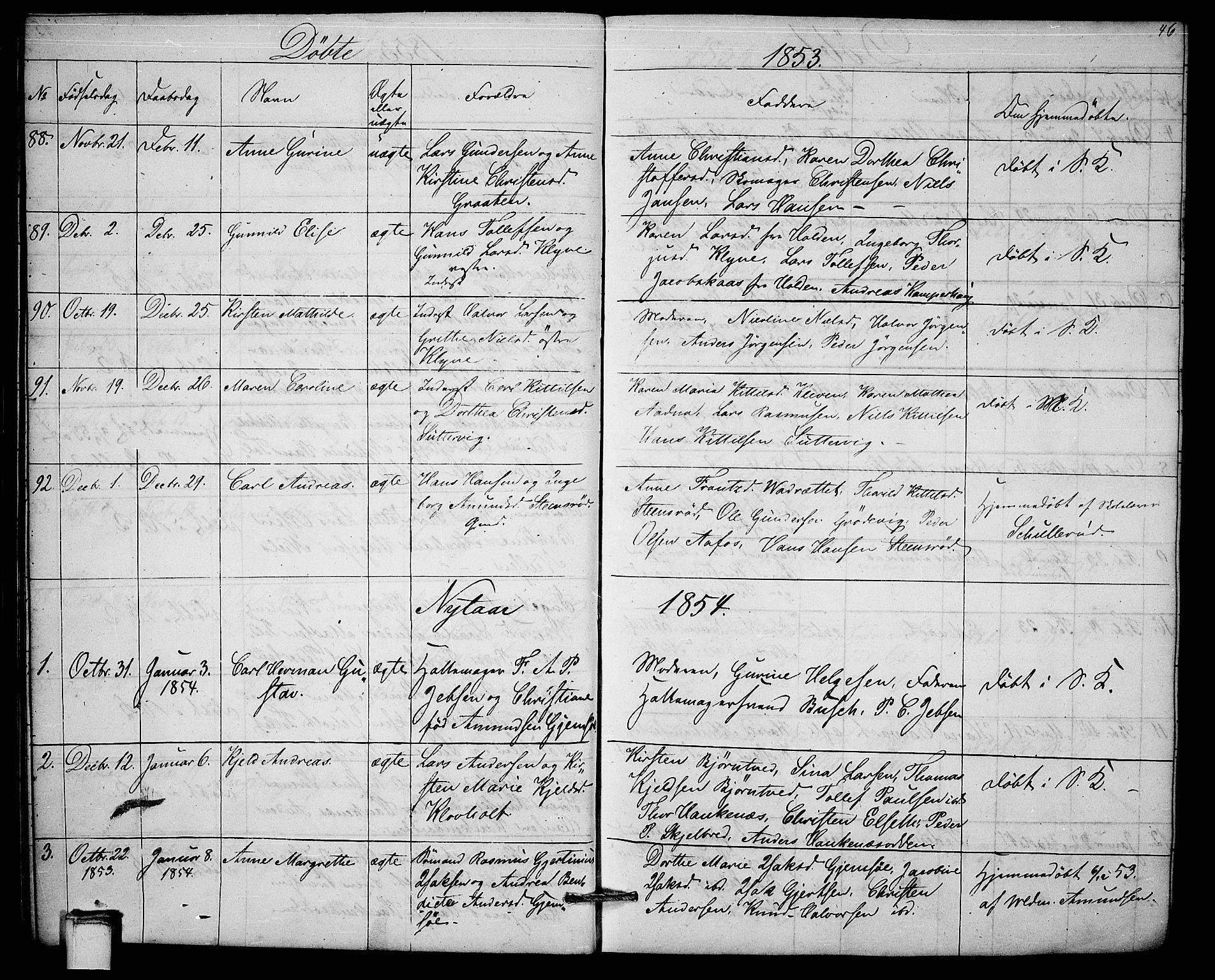 SAKO, Solum kirkebøker, G/Ga/L0003: Klokkerbok nr. I 3, 1848-1859, s. 46