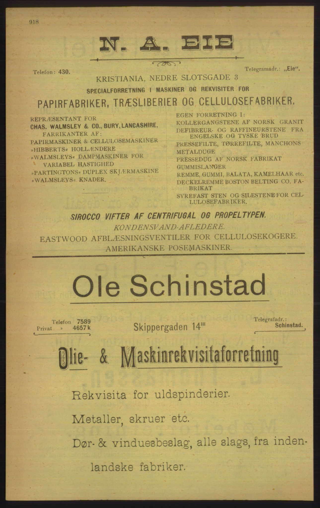 PUBL, Kristiania/Oslo adressebok, 1906, s. 918