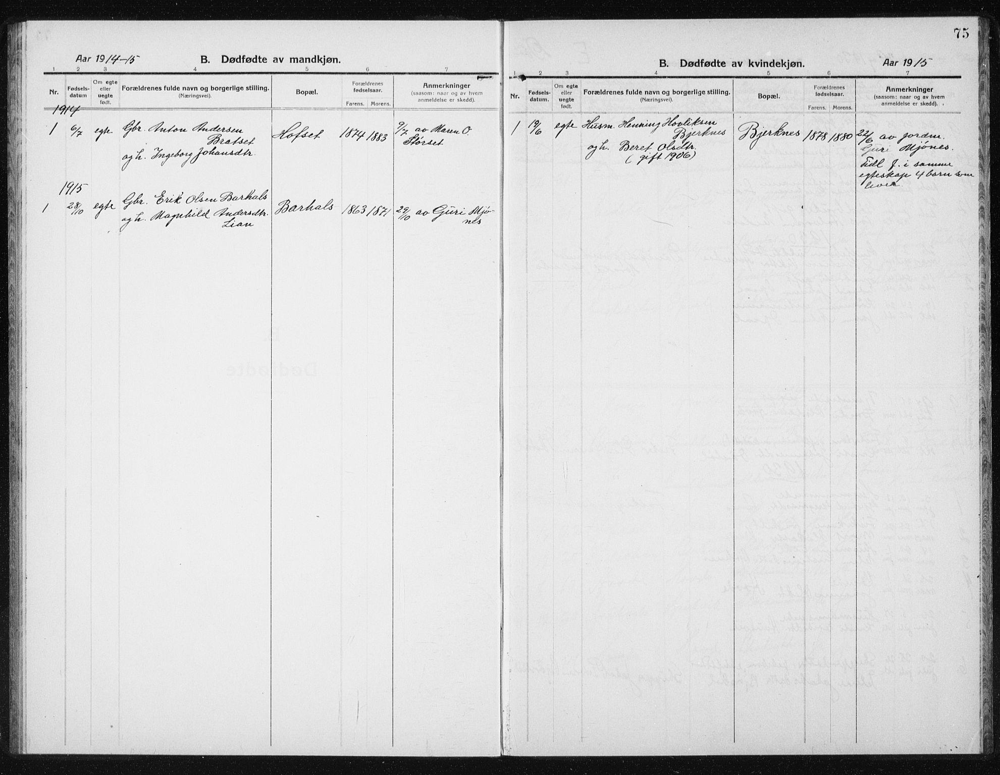 SAT, Ministerialprotokoller, klokkerbøker og fødselsregistre - Sør-Trøndelag, 631/L0515: Klokkerbok nr. 631C03, 1913-1939, s. 75