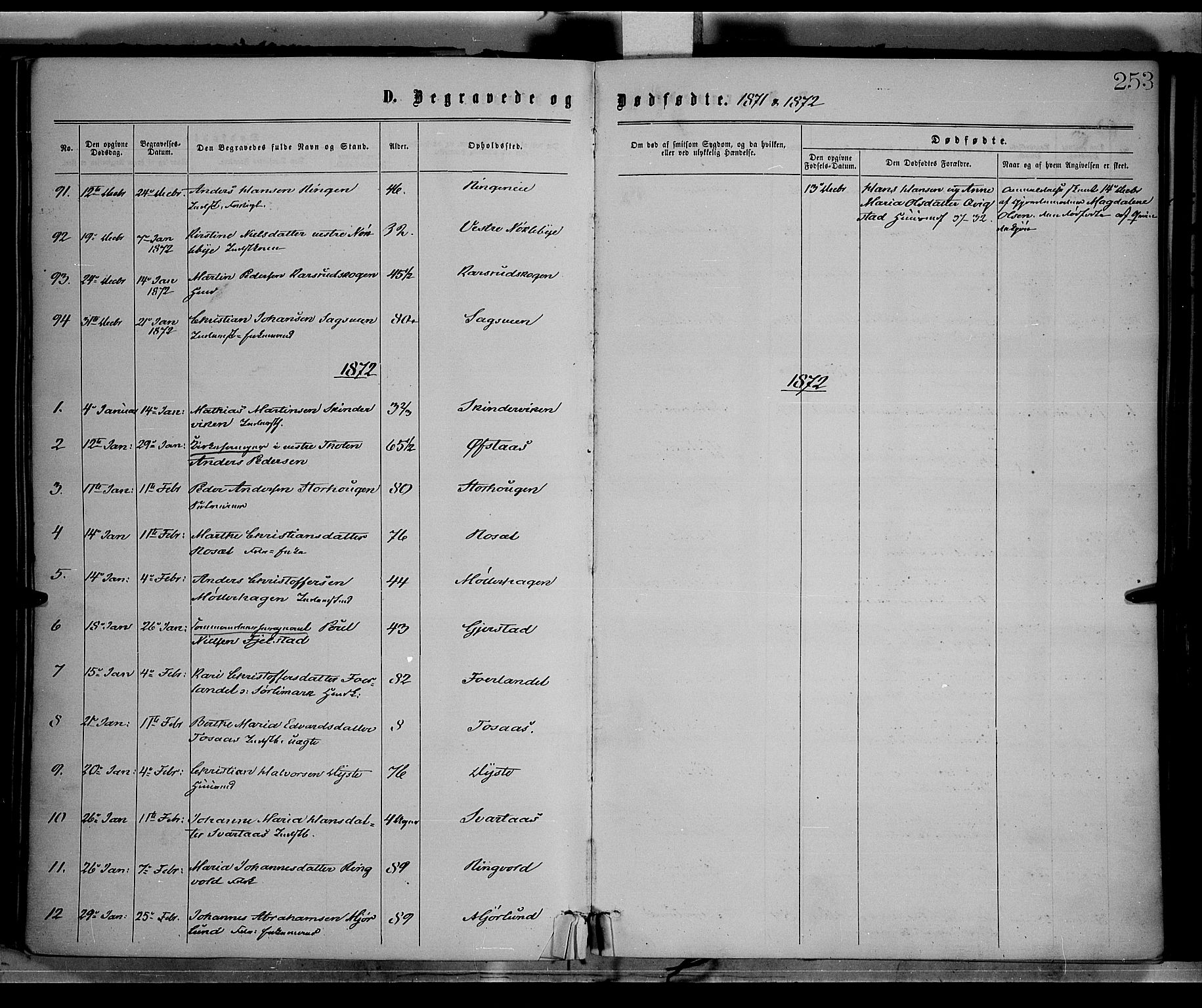 SAH, Vestre Toten prestekontor, H/Ha/Haa/L0008: Ministerialbok nr. 8, 1870-1877, s. 253