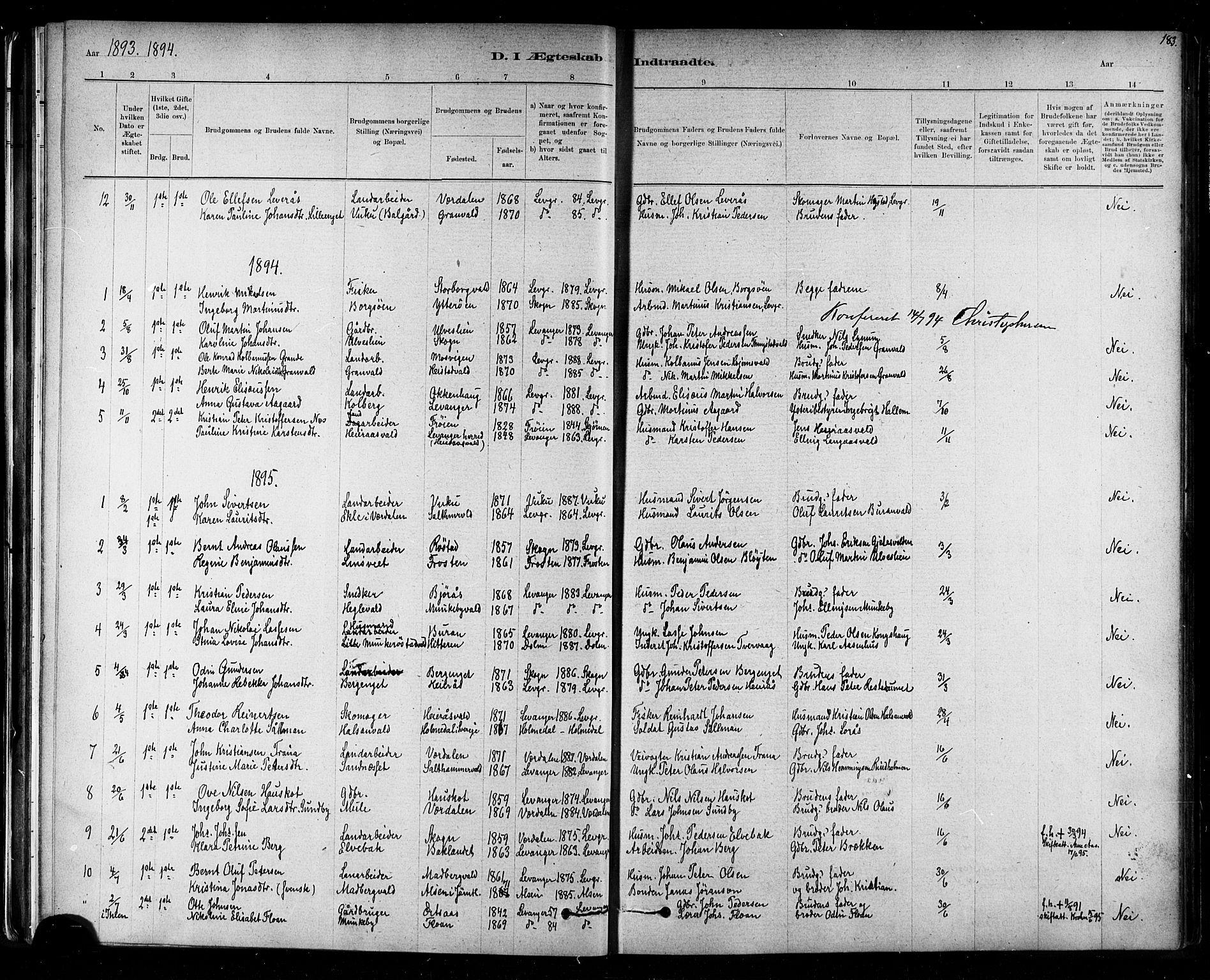 SAT, Ministerialprotokoller, klokkerbøker og fødselsregistre - Nord-Trøndelag, 721/L0208: Klokkerbok nr. 721C01, 1880-1917, s. 183