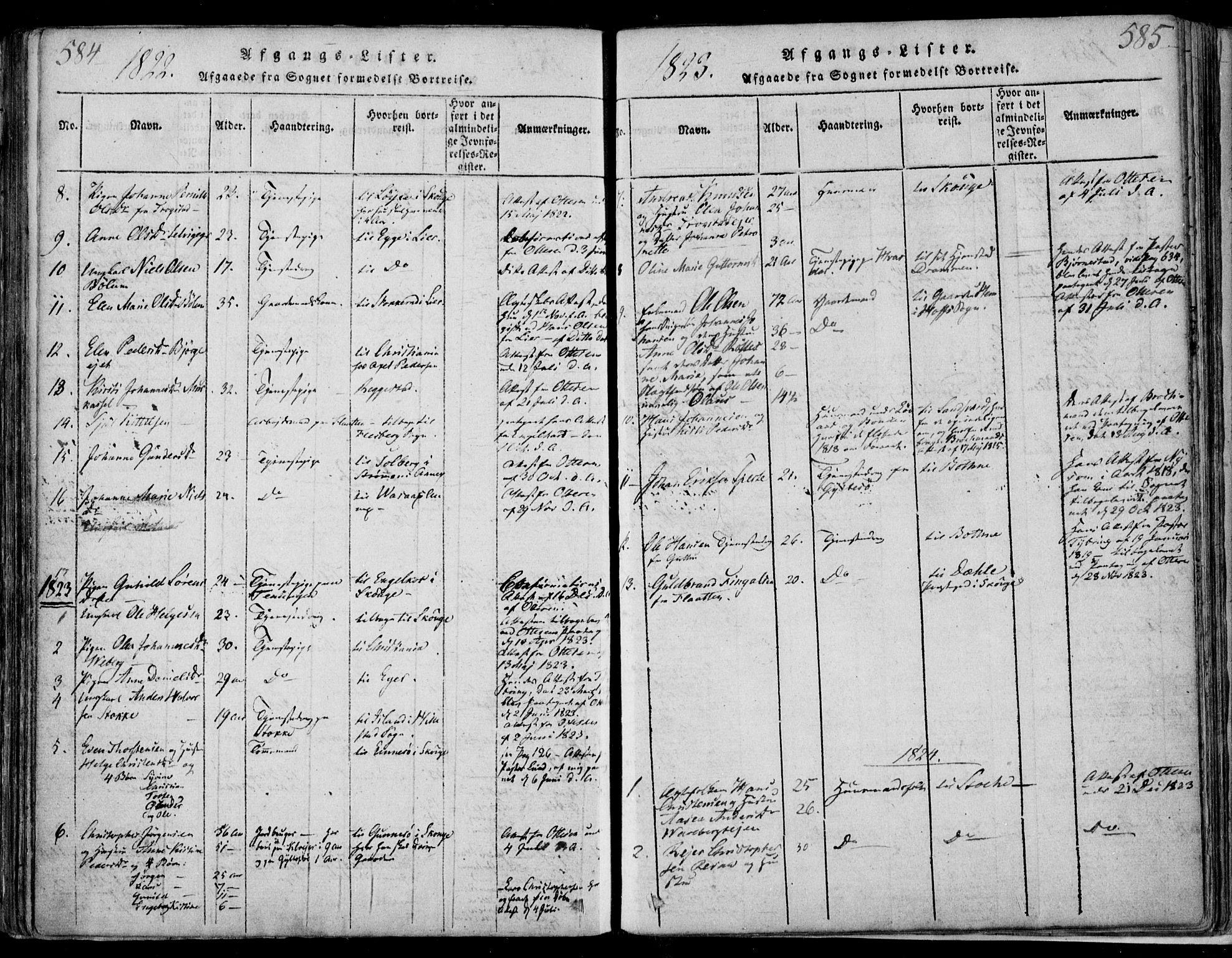 SAKO, Sande Kirkebøker, F/Fa/L0003: Ministerialbok nr. 3, 1814-1847, s. 584-585