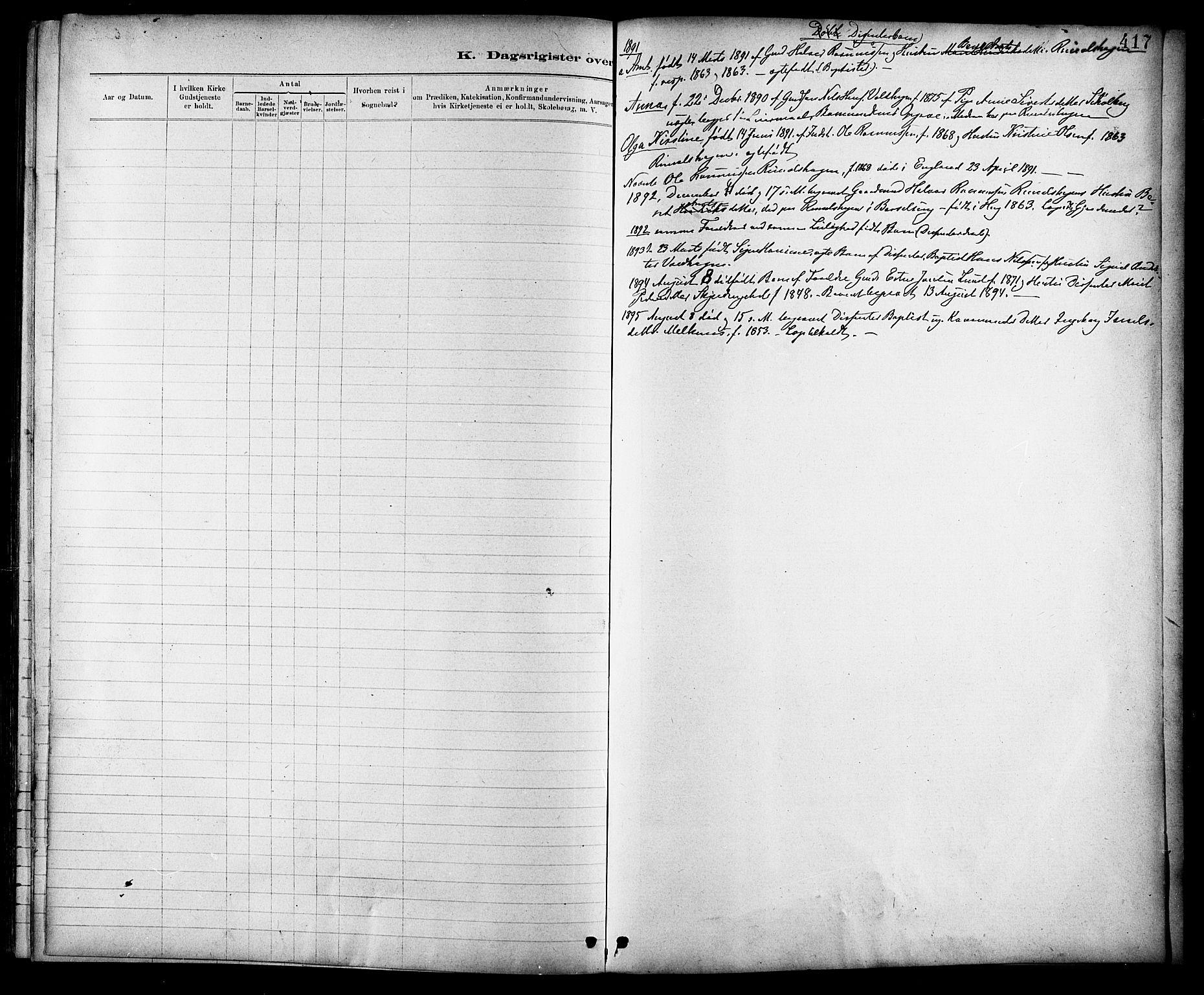 SAT, Ministerialprotokoller, klokkerbøker og fødselsregistre - Sør-Trøndelag, 691/L1094: Klokkerbok nr. 691C05, 1879-1911, s. 417