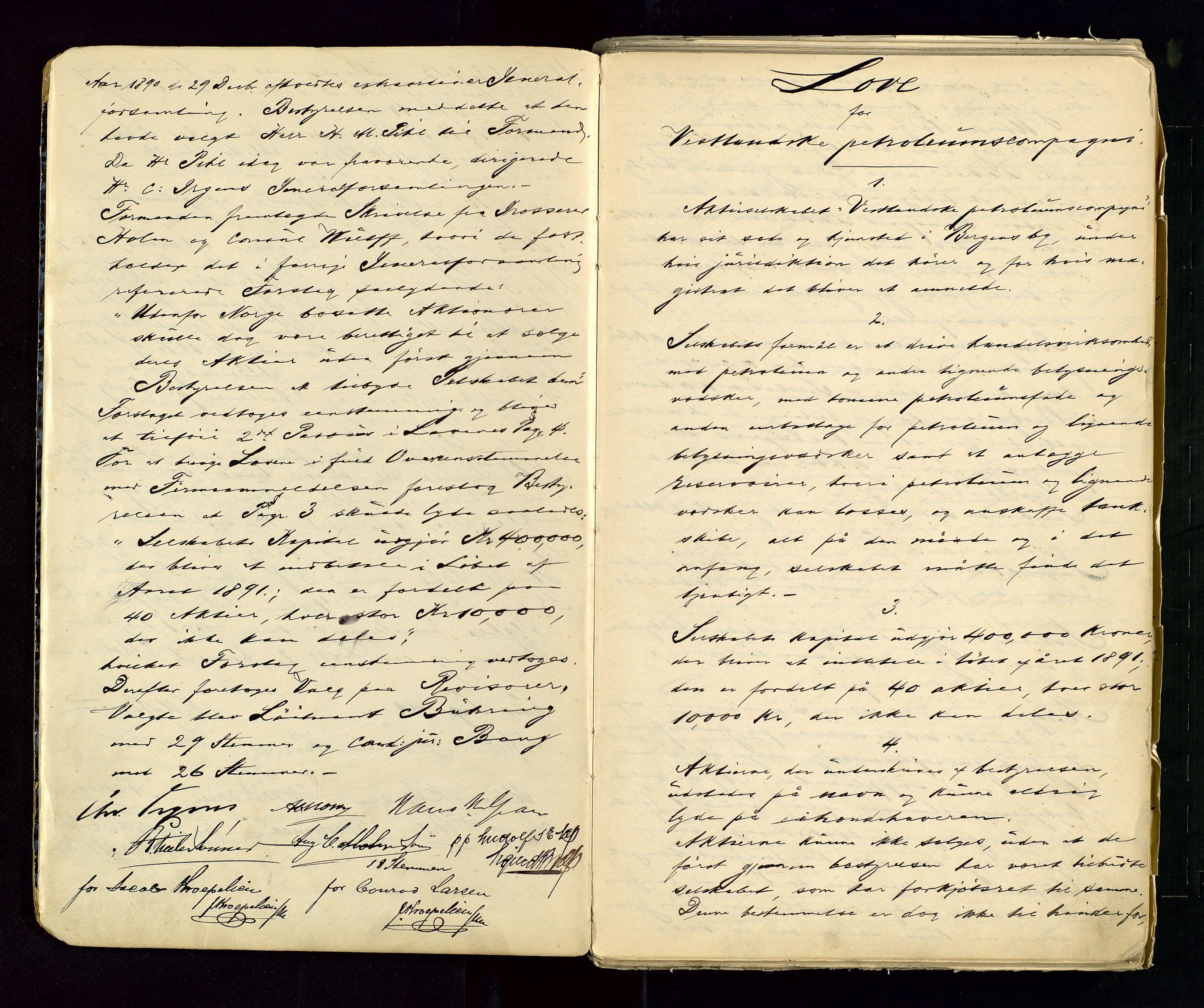 SAST, PA 1533 - A/S Vestlandske Petroleumscompani, A/Aa/L0001: Generalforsamlinger og styreprotokoller, 1890-1953, s. 4