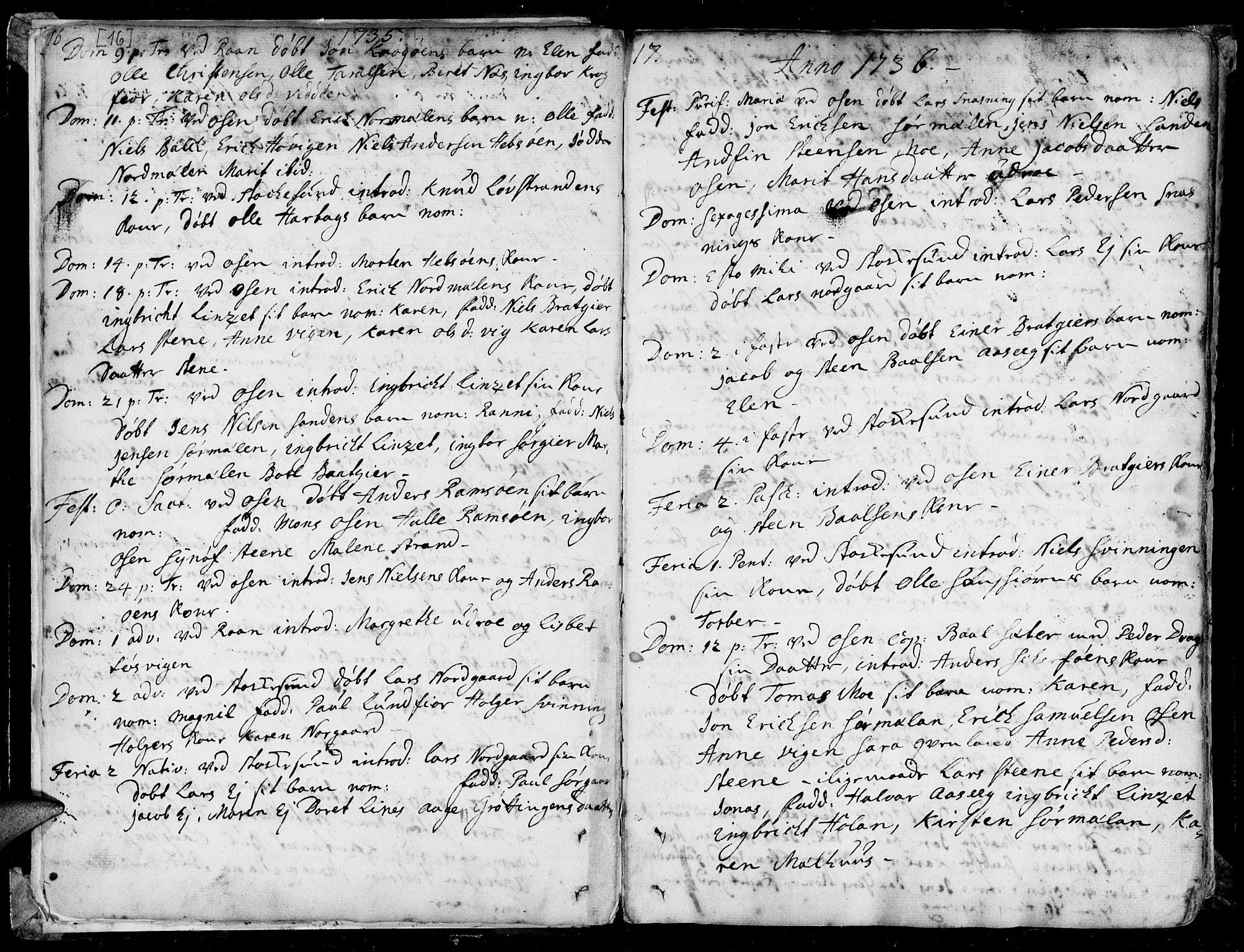 SAT, Ministerialprotokoller, klokkerbøker og fødselsregistre - Sør-Trøndelag, 657/L0700: Ministerialbok nr. 657A01, 1732-1801, s. 16-17