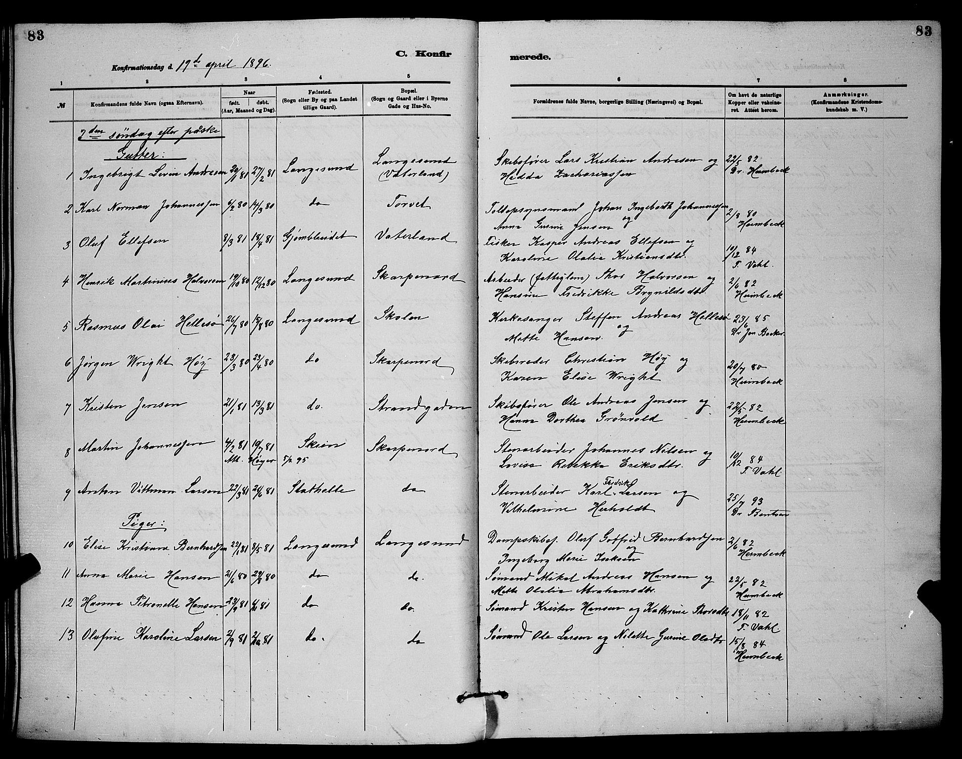 SAKO, Langesund kirkebøker, G/Ga/L0005: Klokkerbok nr. 5, 1884-1898, s. 83