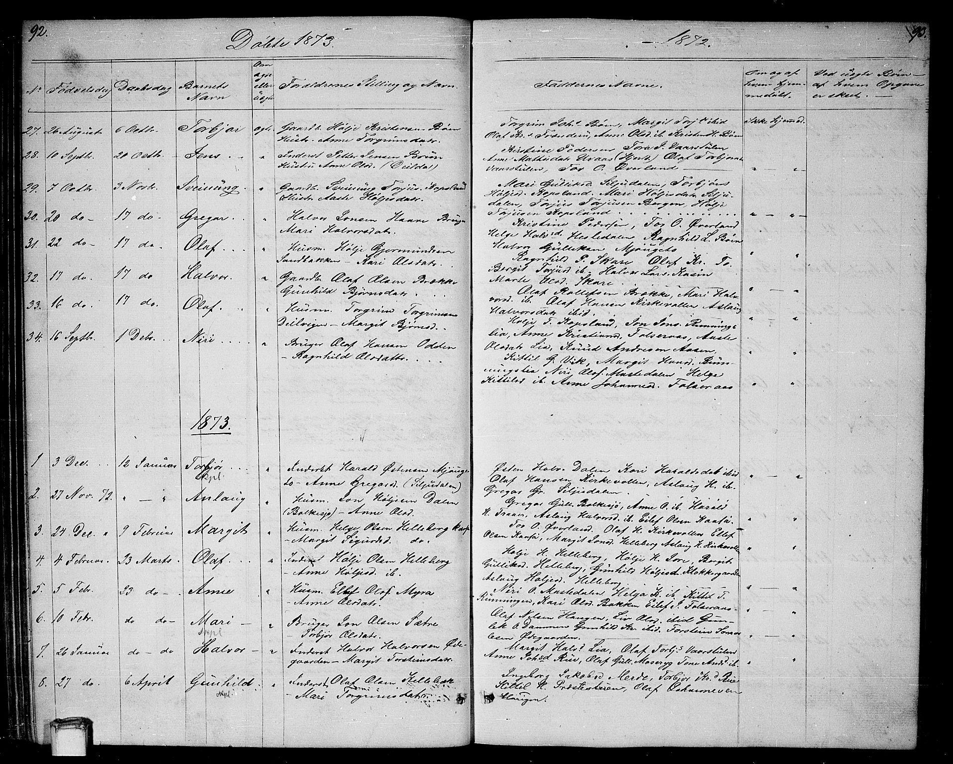 SAKO, Gransherad kirkebøker, G/Ga/L0002: Klokkerbok nr. I 2, 1854-1886, s. 92-93