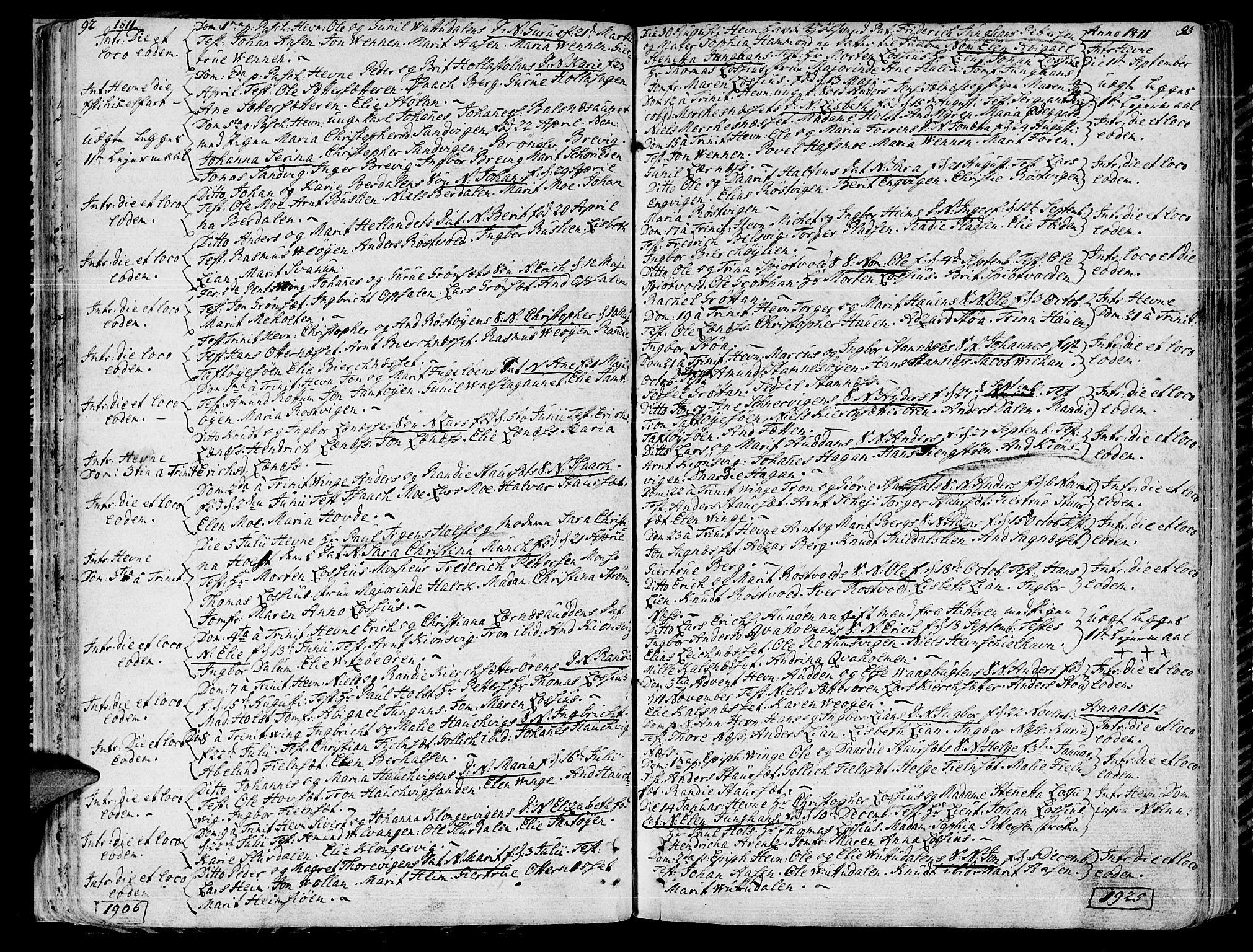 SAT, Ministerialprotokoller, klokkerbøker og fødselsregistre - Sør-Trøndelag, 630/L0490: Ministerialbok nr. 630A03, 1795-1818, s. 92-93