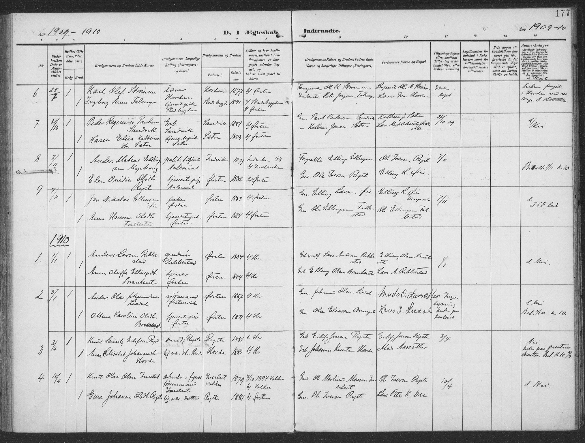 SAT, Ministerialprotokoller, klokkerbøker og fødselsregistre - Møre og Romsdal, 513/L0178: Ministerialbok nr. 513A05, 1906-1919, s. 177