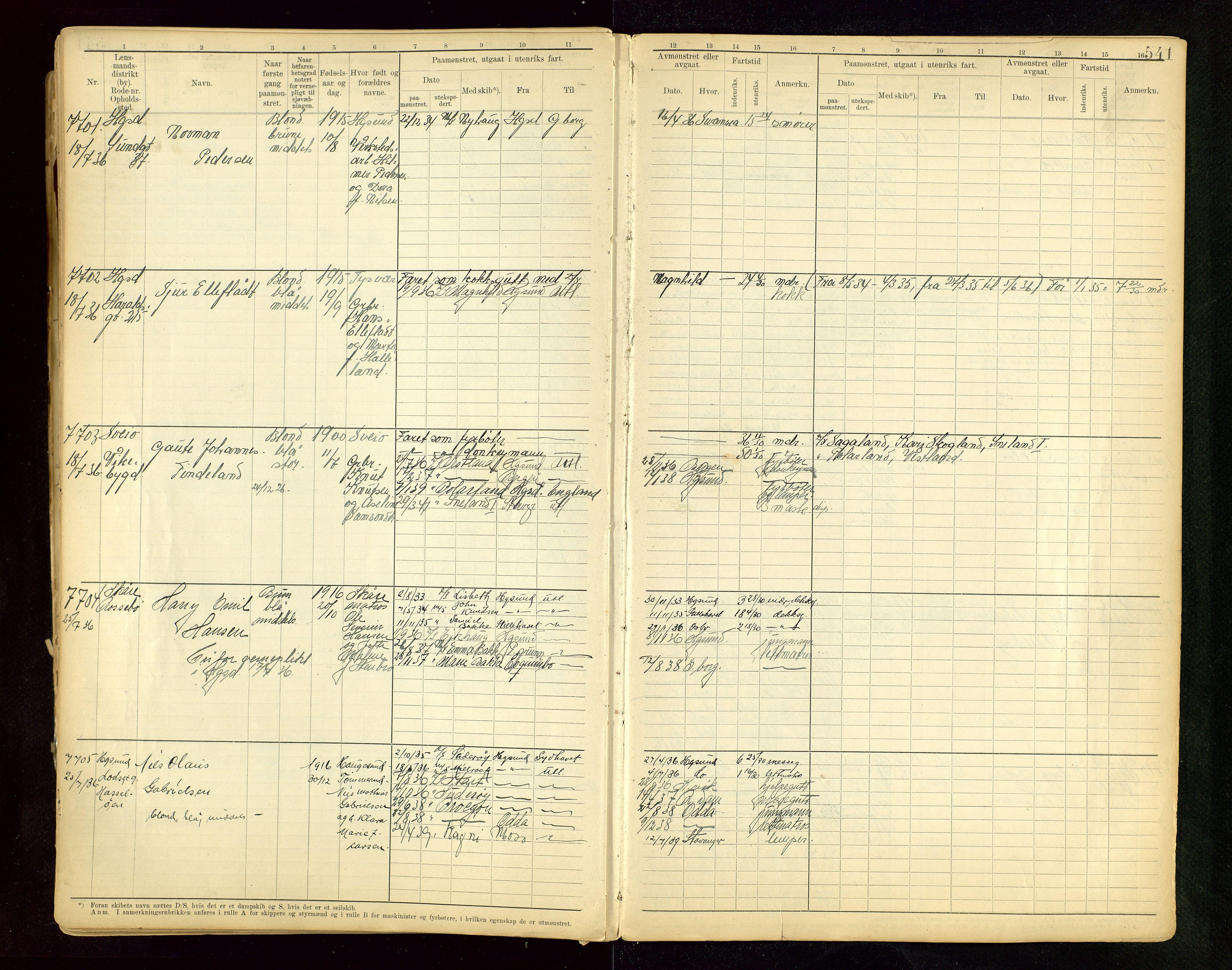 SAST, Haugesund sjømannskontor, F/Fb/Fbb/L0015: Sjøfartsrulle A Haugesund krets I nr 5001-8970, 1912-1948, s. 541