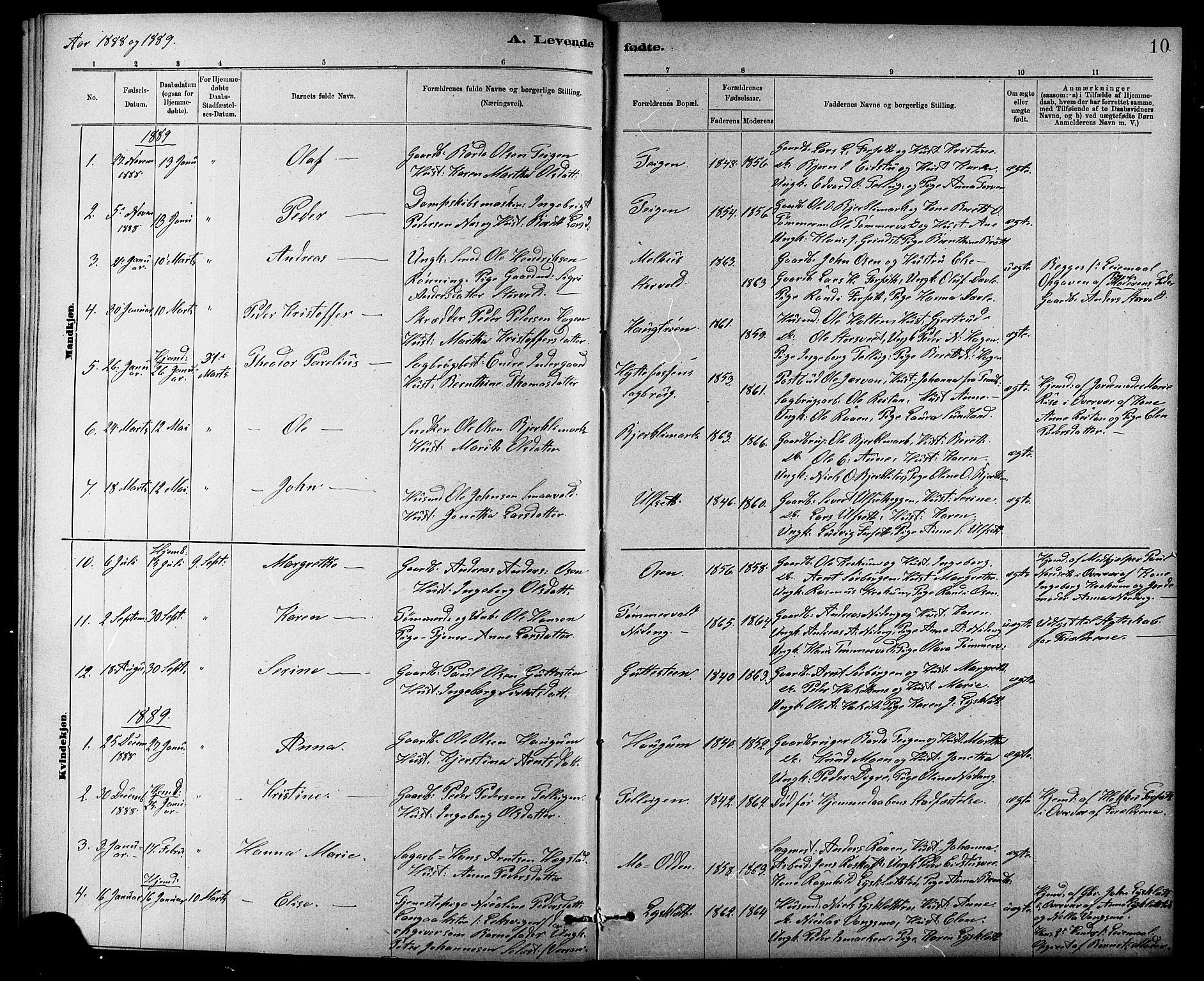 SAT, Ministerialprotokoller, klokkerbøker og fødselsregistre - Sør-Trøndelag, 618/L0452: Klokkerbok nr. 618C03, 1884-1906, s. 10