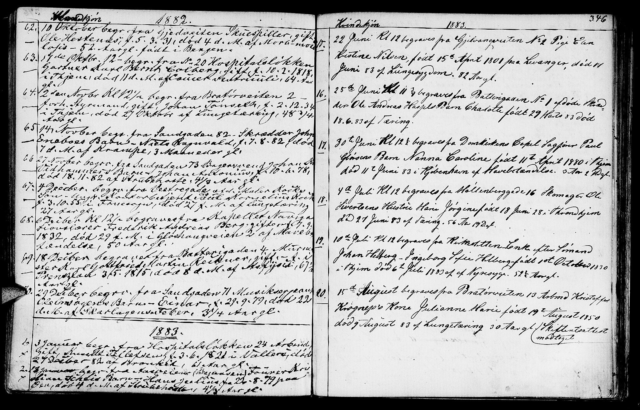 SAT, Ministerialprotokoller, klokkerbøker og fødselsregistre - Sør-Trøndelag, 602/L0142: Klokkerbok nr. 602C10, 1872-1894, s. 346