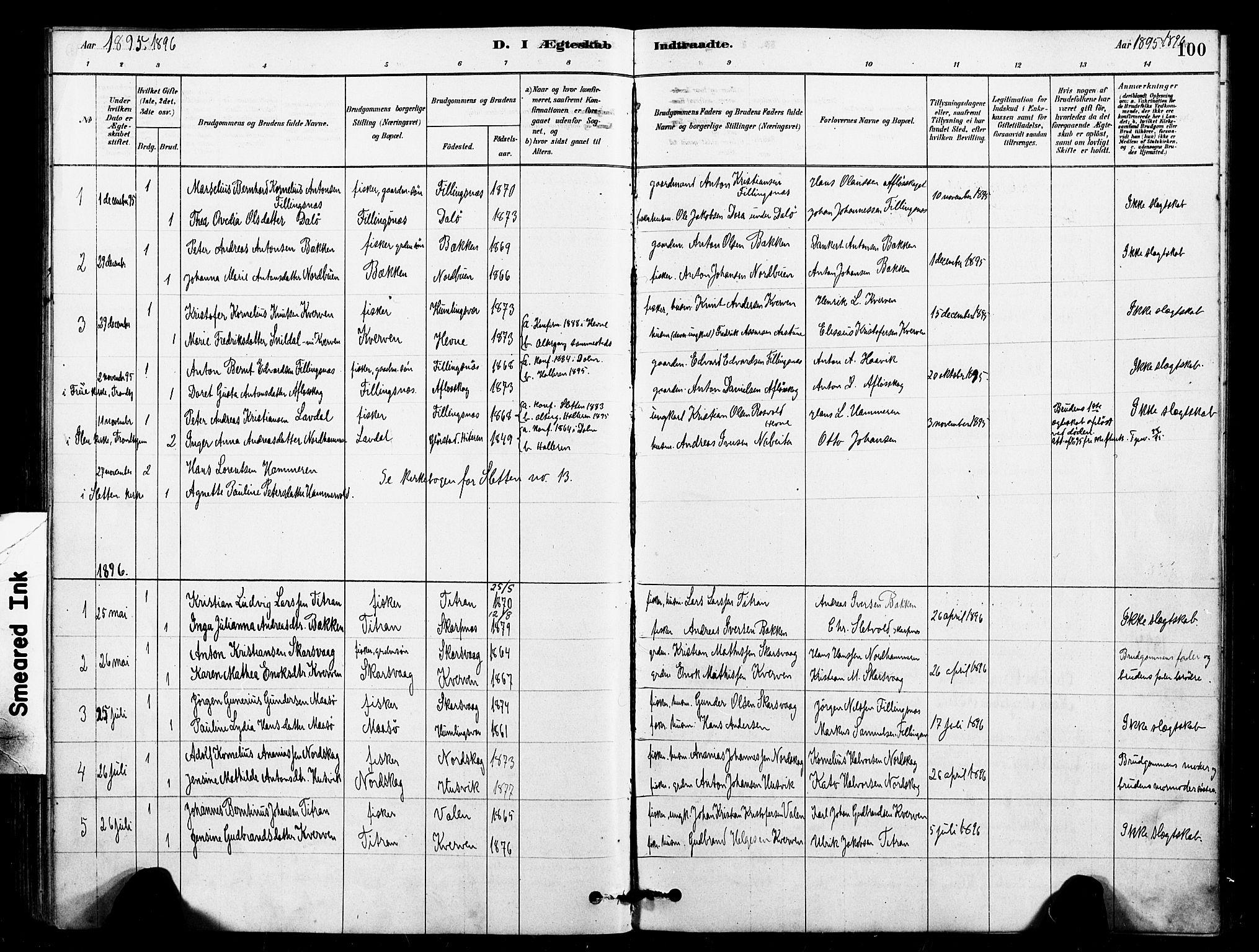 SAT, Ministerialprotokoller, klokkerbøker og fødselsregistre - Sør-Trøndelag, 641/L0595: Ministerialbok nr. 641A01, 1882-1897, s. 100