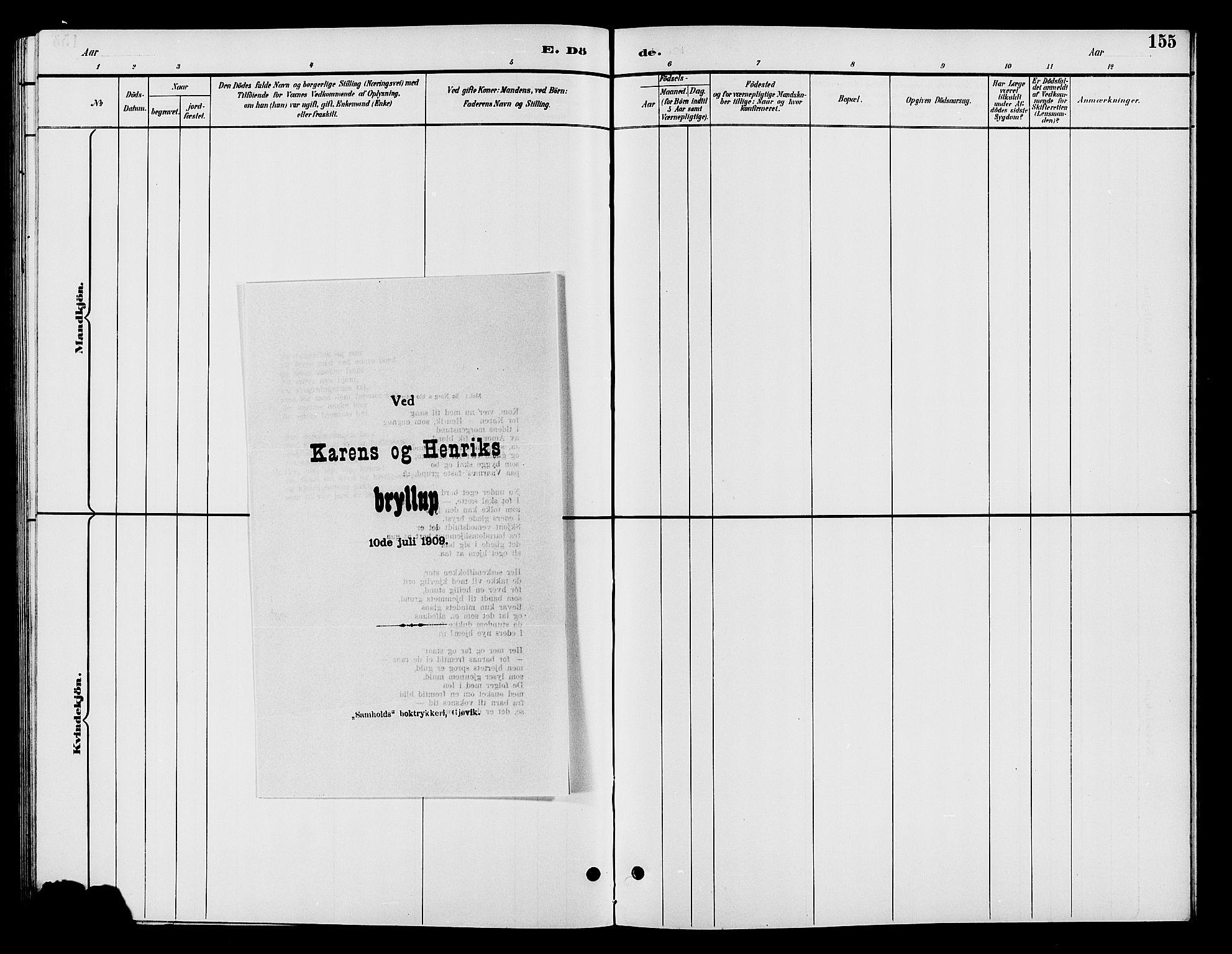 SAH, Vardal prestekontor, H/Ha/Hab/L0009: Klokkerbok nr. 9, 1894-1902, s. 155