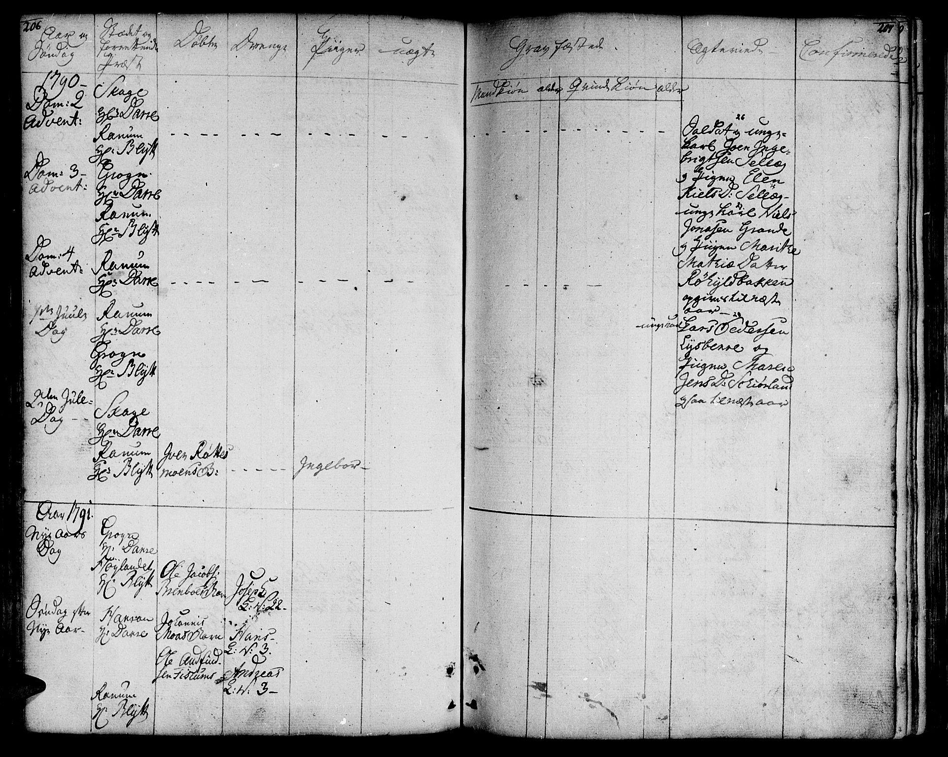SAT, Ministerialprotokoller, klokkerbøker og fødselsregistre - Nord-Trøndelag, 764/L0544: Ministerialbok nr. 764A04, 1780-1798, s. 206-207