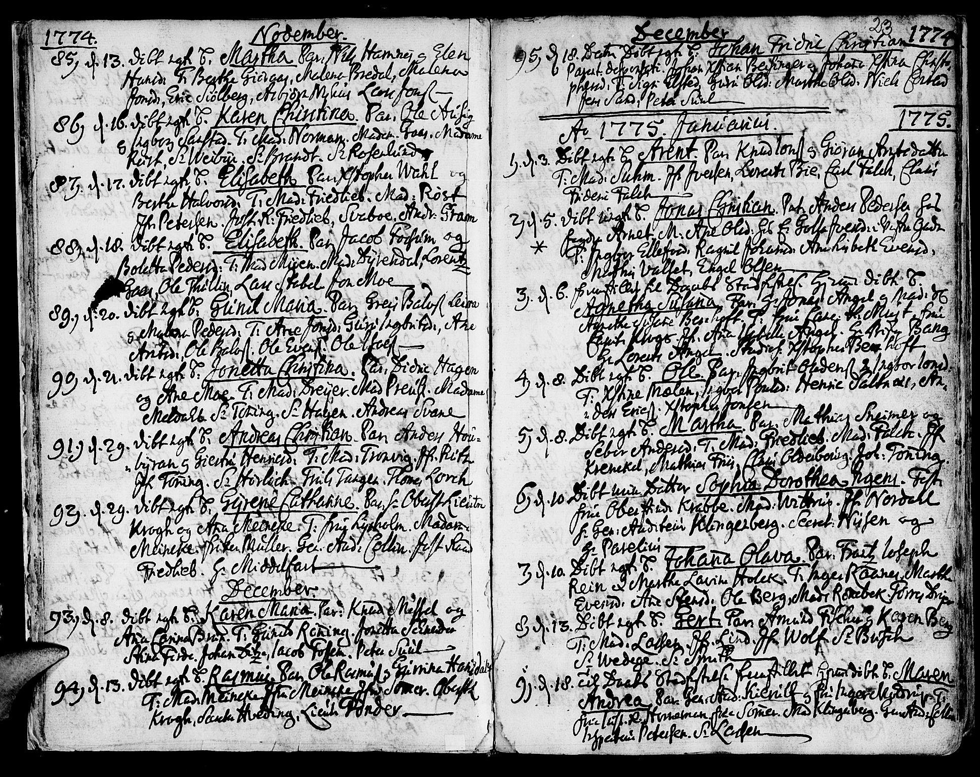 SAT, Ministerialprotokoller, klokkerbøker og fødselsregistre - Sør-Trøndelag, 601/L0039: Ministerialbok nr. 601A07, 1770-1819, s. 23