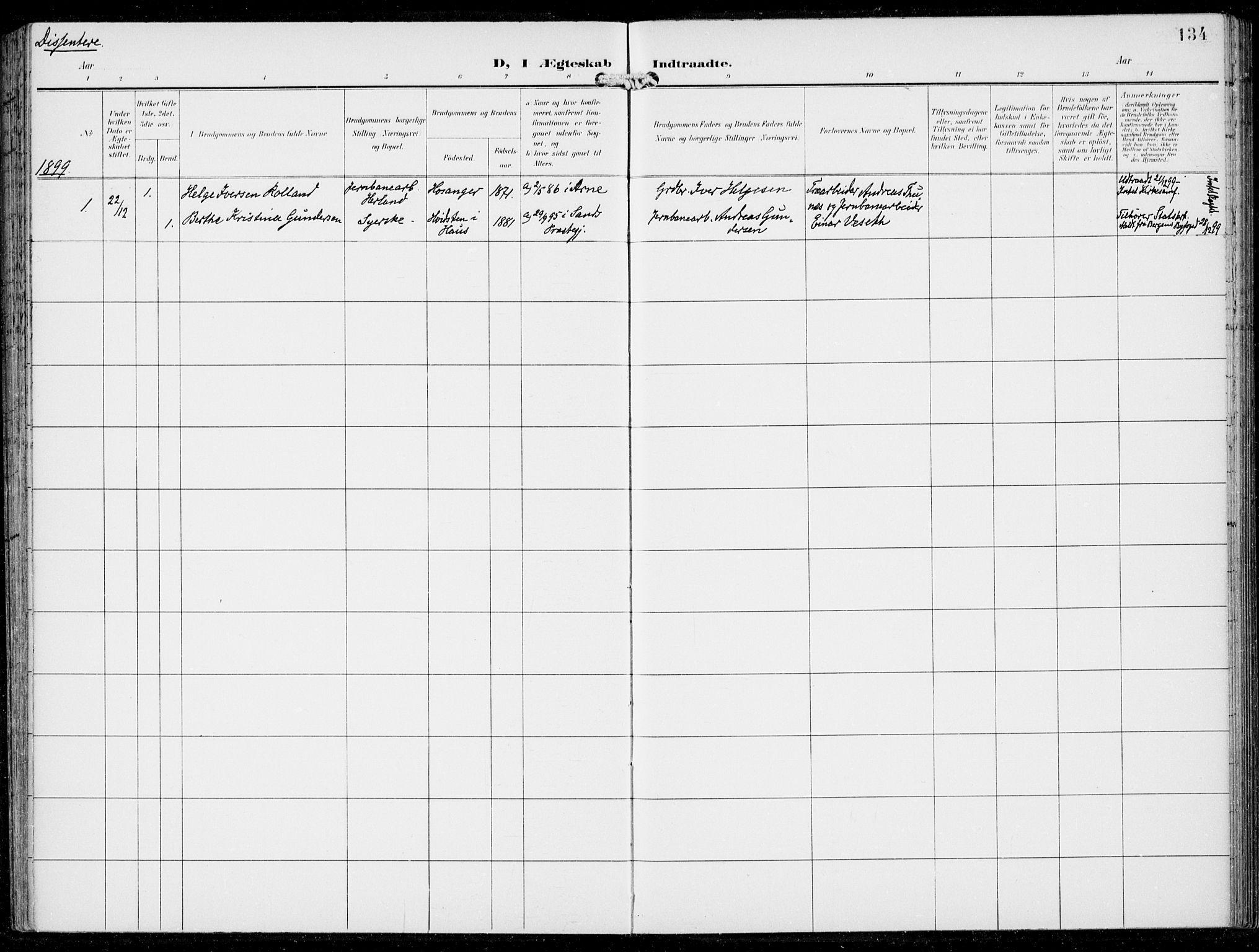 SAB, Haus sokneprestembete, H/Haa: Ministerialbok nr. B  2, 1899-1912, s. 134