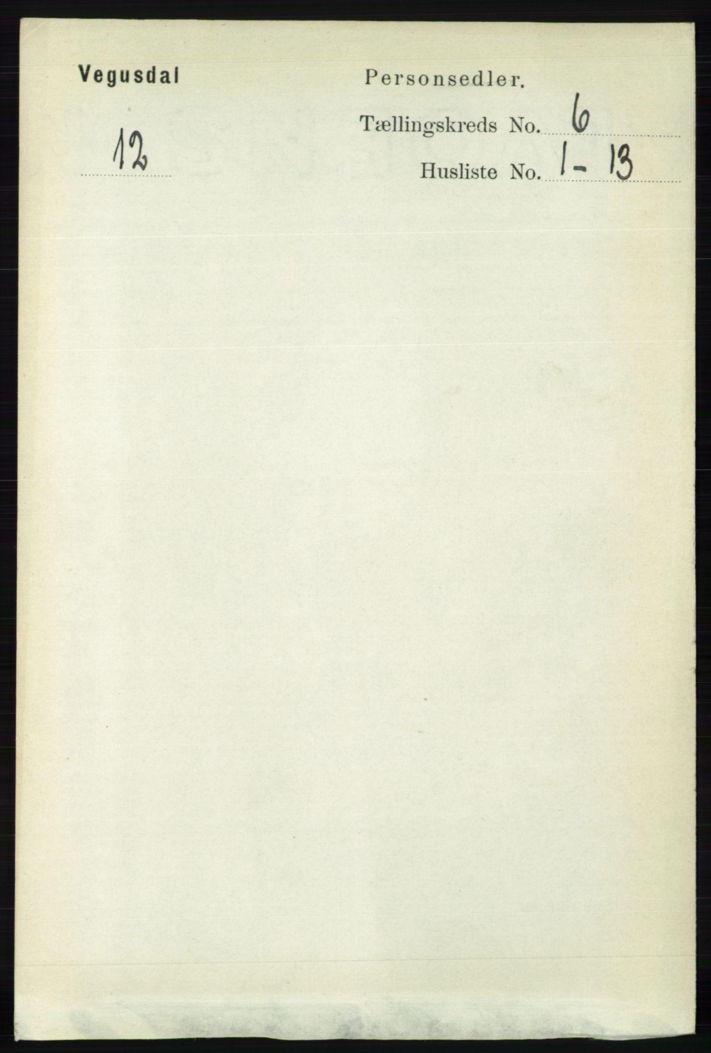 RA, Folketelling 1891 for 0934 Vegusdal herred, 1891, s. 1078