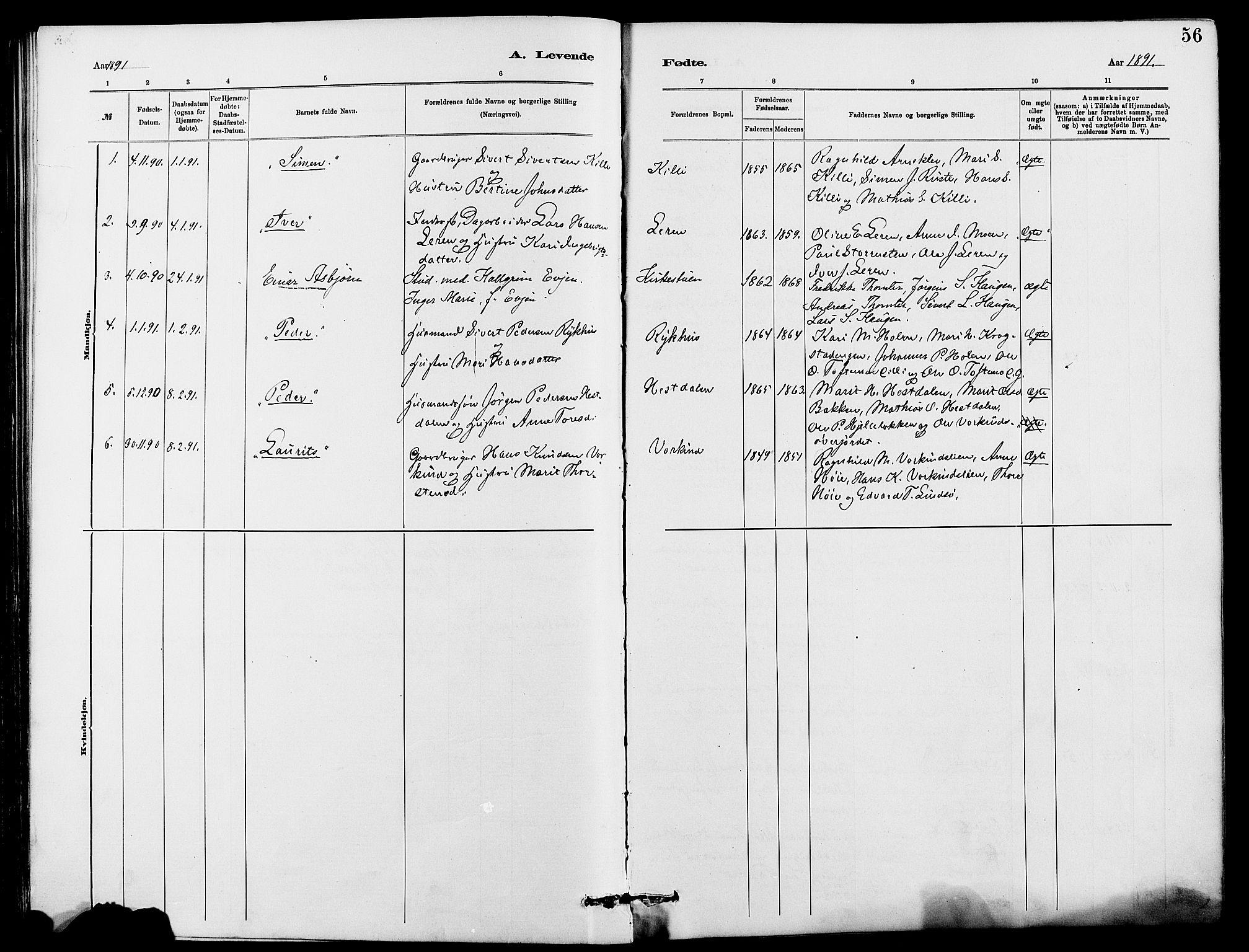 SAH, Dovre prestekontor, Klokkerbok nr. 2, 1881-1907, s. 56