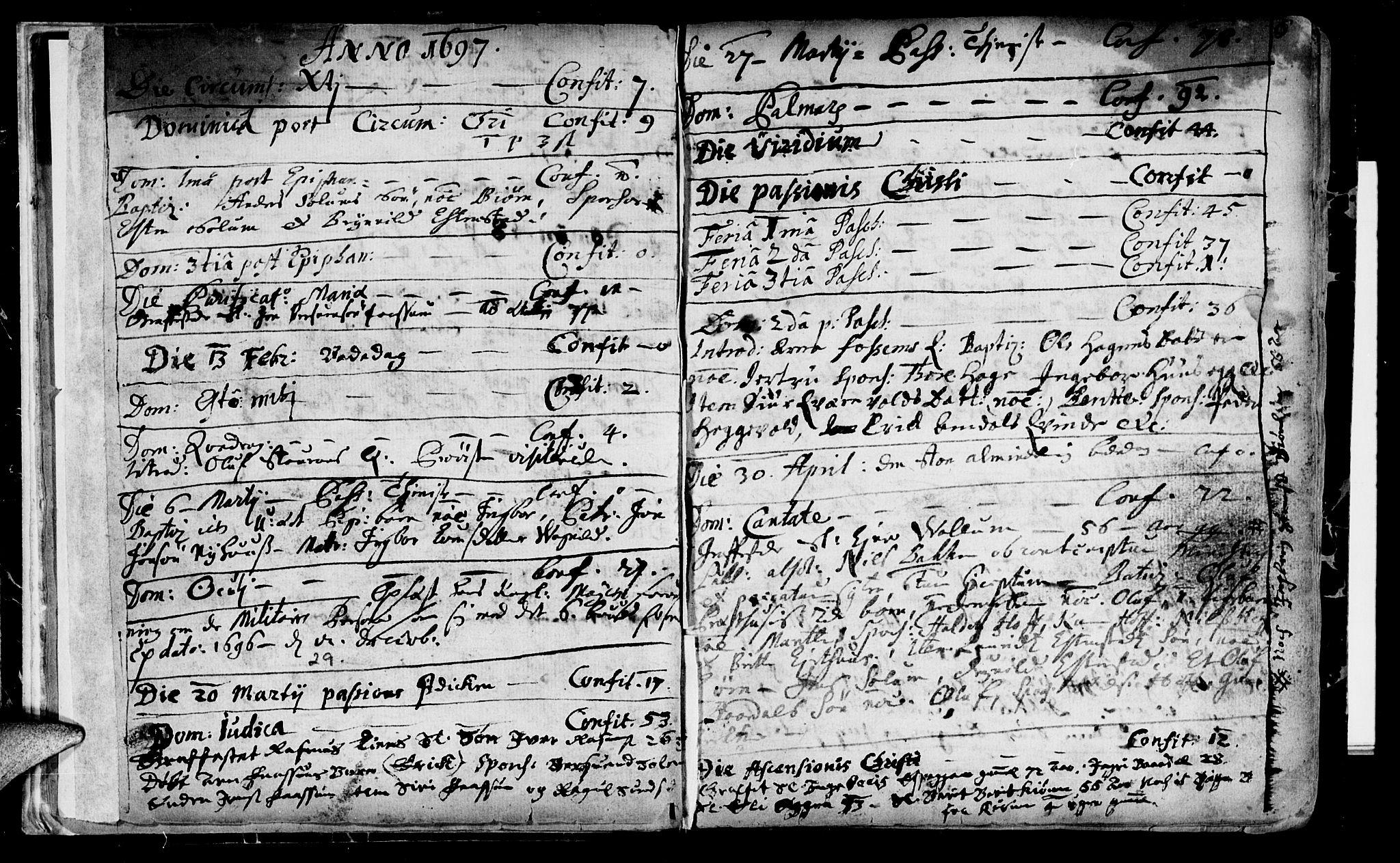SAT, Ministerialprotokoller, klokkerbøker og fødselsregistre - Sør-Trøndelag, 689/L1036: Ministerialbok nr. 689A01, 1696-1746, s. 6