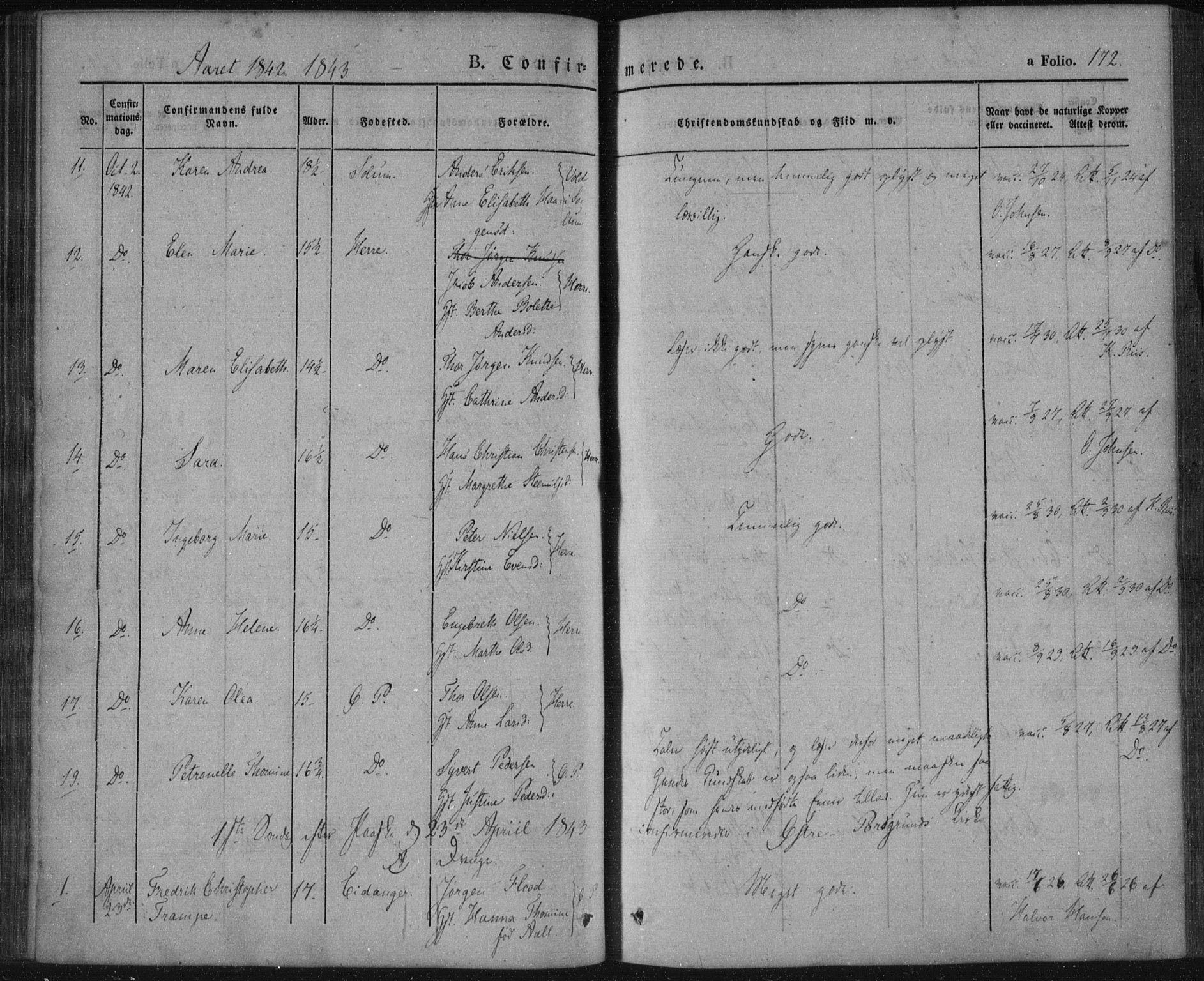 SAKO, Porsgrunn kirkebøker , F/Fa/L0006: Ministerialbok nr. 6, 1841-1857, s. 172