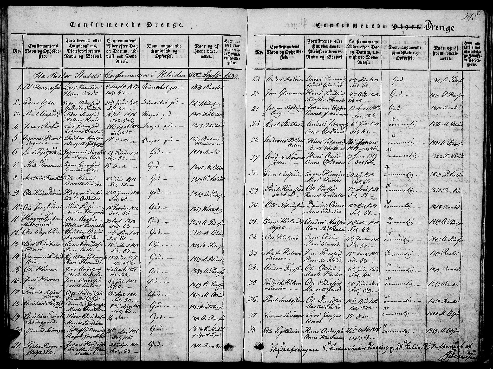 SAH, Østre Toten prestekontor, Klokkerbok nr. 1, 1827-1839, s. 245