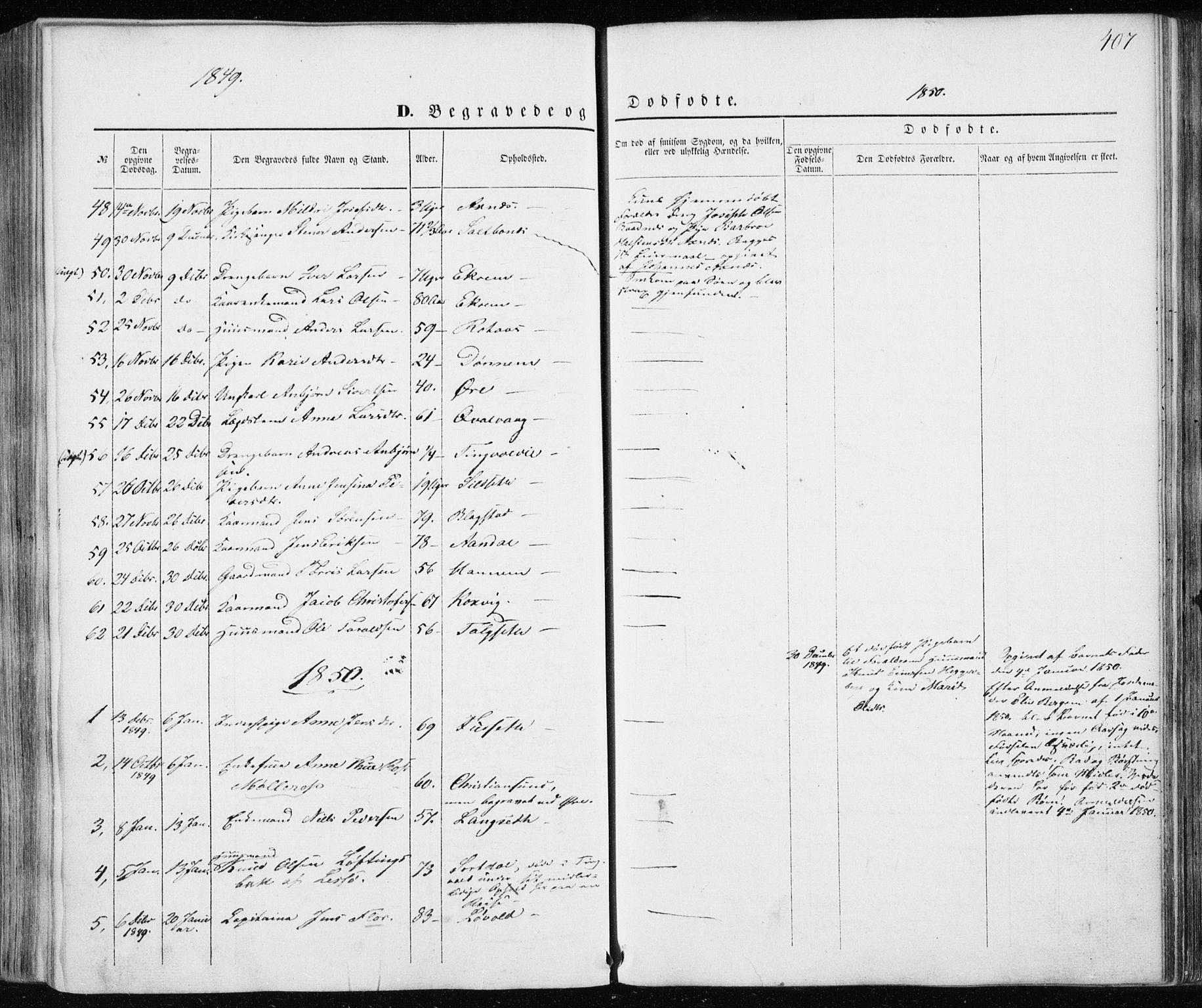 SAT, Ministerialprotokoller, klokkerbøker og fødselsregistre - Møre og Romsdal, 586/L0984: Ministerialbok nr. 586A10, 1844-1856, s. 407